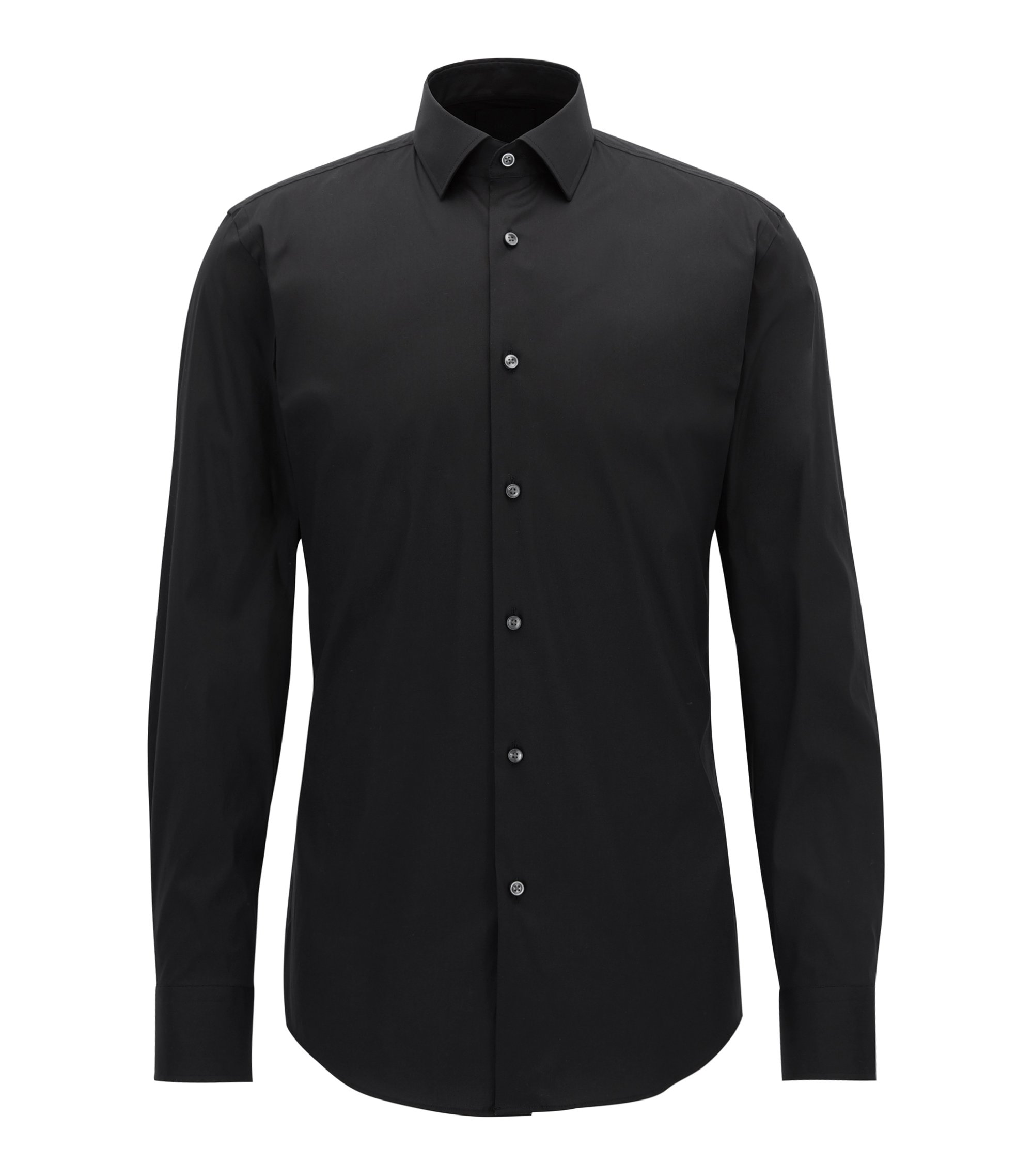 Slim-fit shirt in stretch cotton-blend poplin, Black