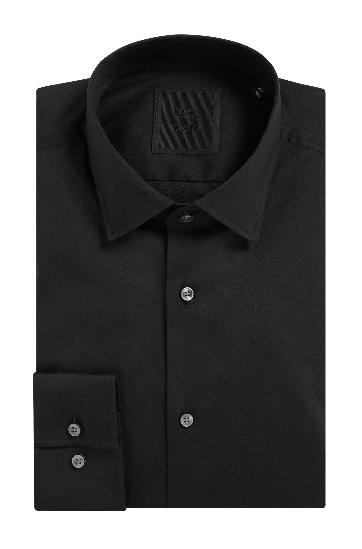 Slim-fit shirt in stretch cotton-blend poplin