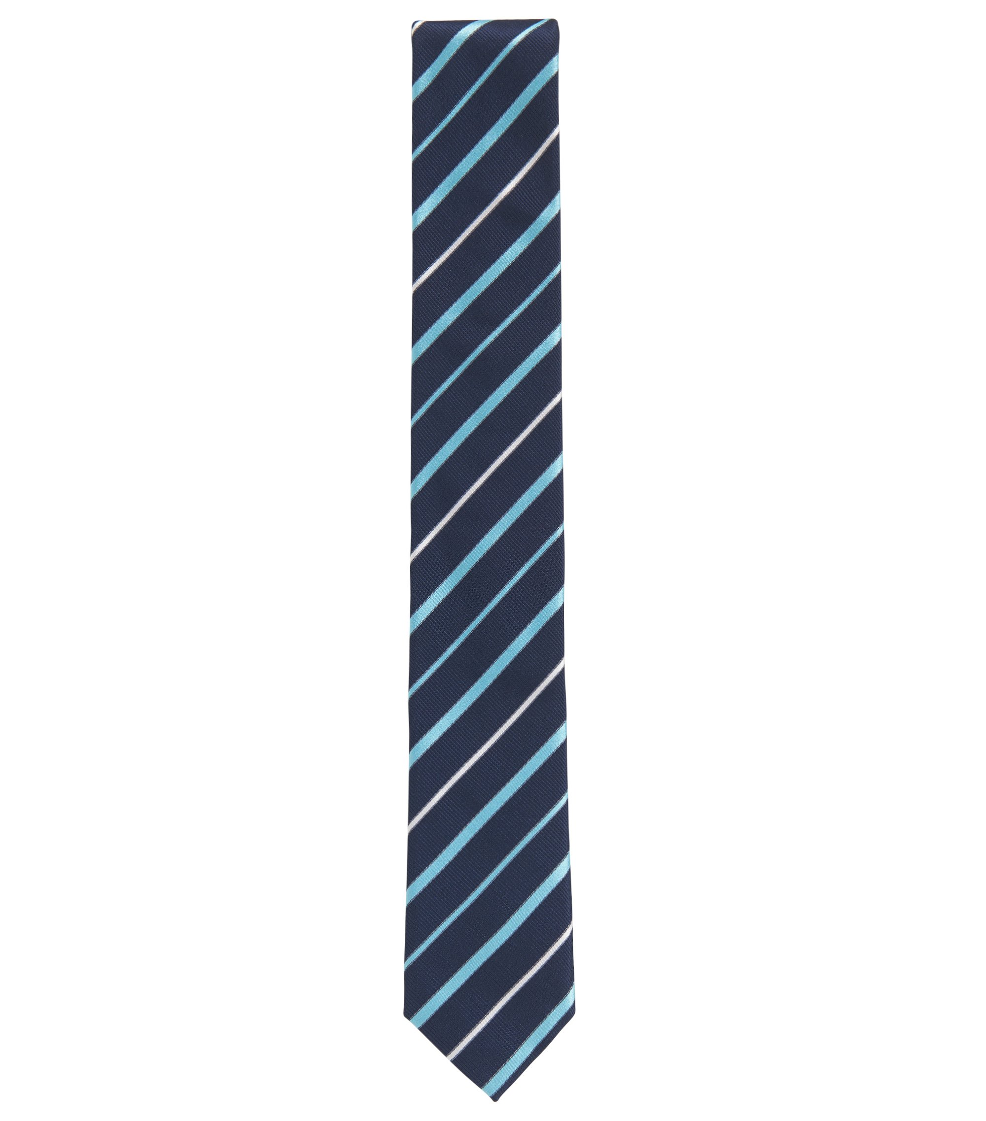 Italian-made silk jacquard tie with diagonal stripe, Blue