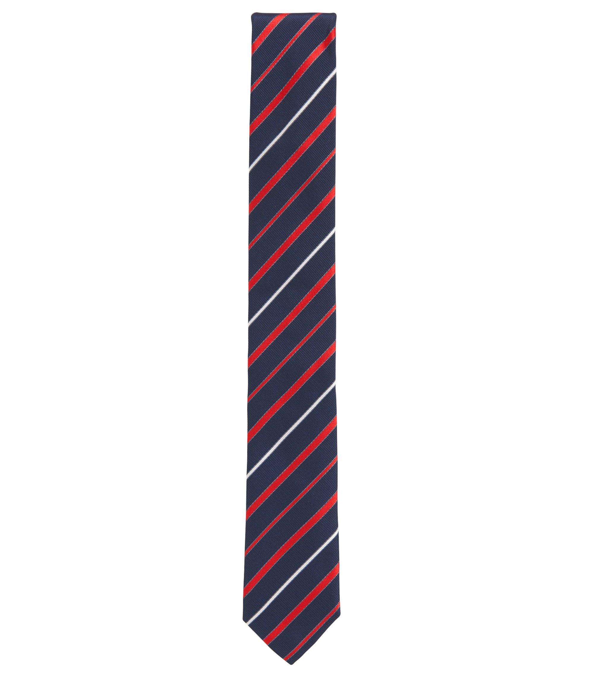 Cravate en jacquard de soie à rayures en diagonale, confectionnée en Italie, Rose foncé