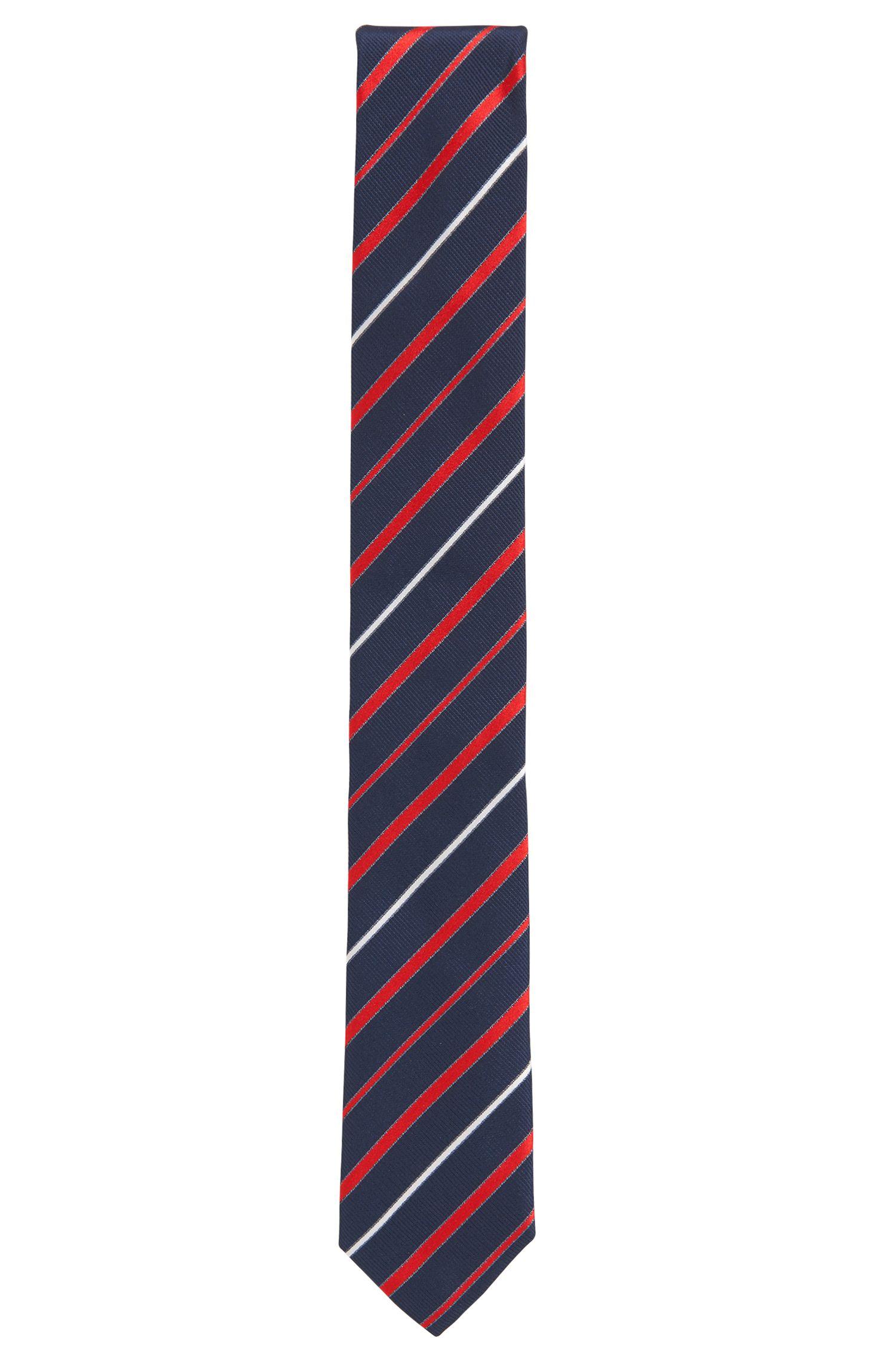 Cravate en jacquard de soie à rayures en diagonale, confectionnée en Italie