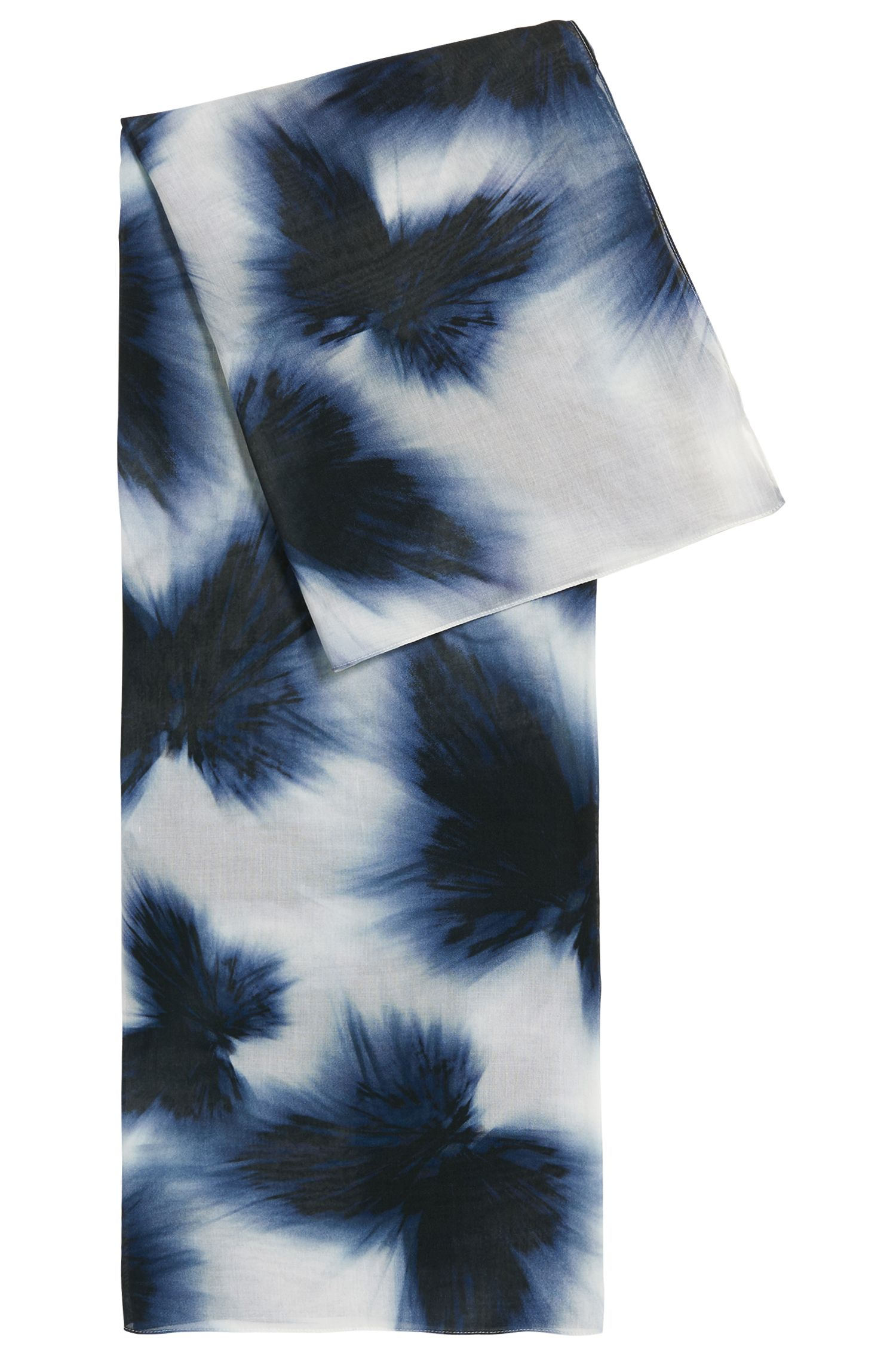 Cotton-blend scarf with butterfly print