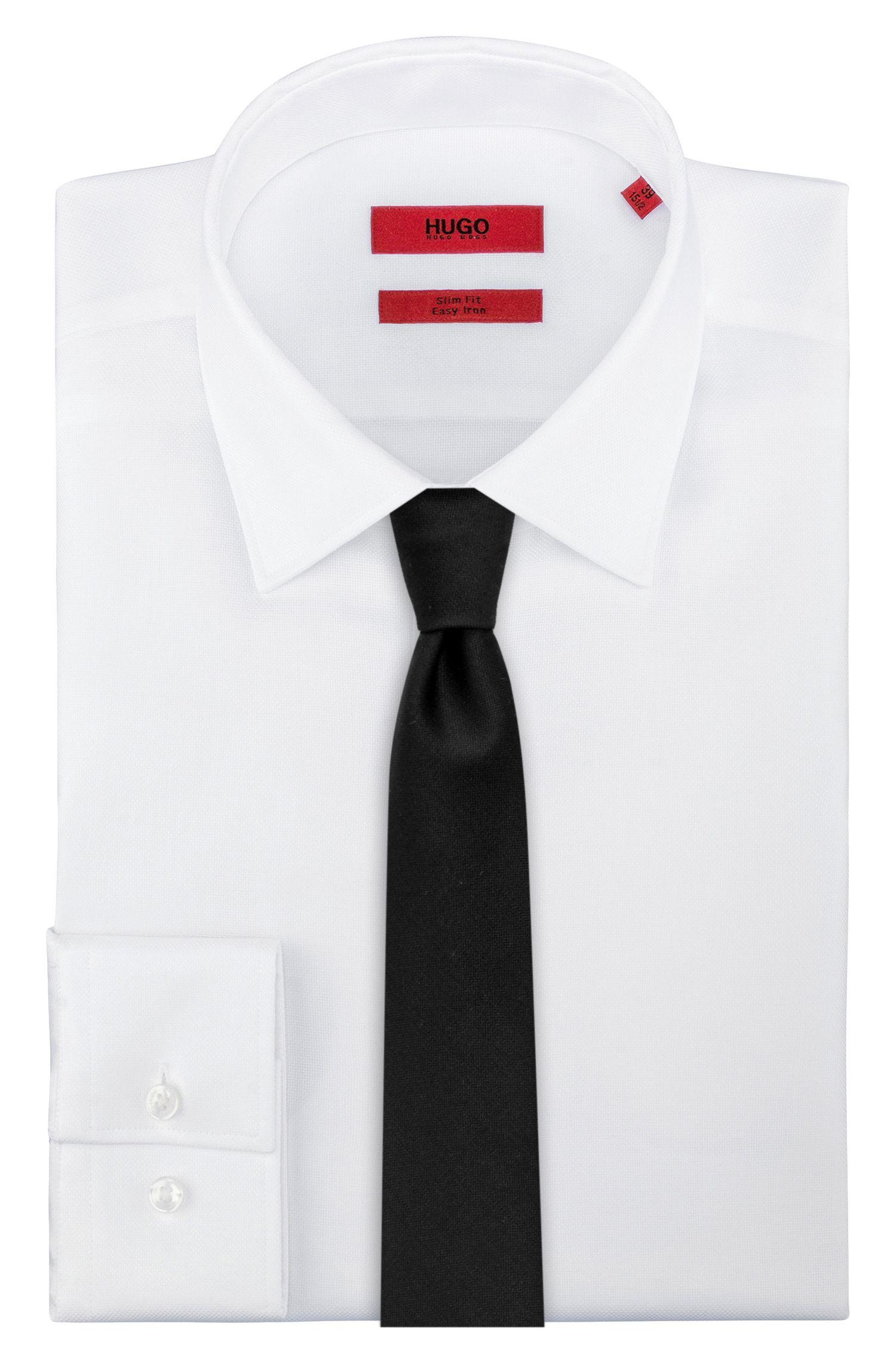 Embroidered tie in virgin wool
