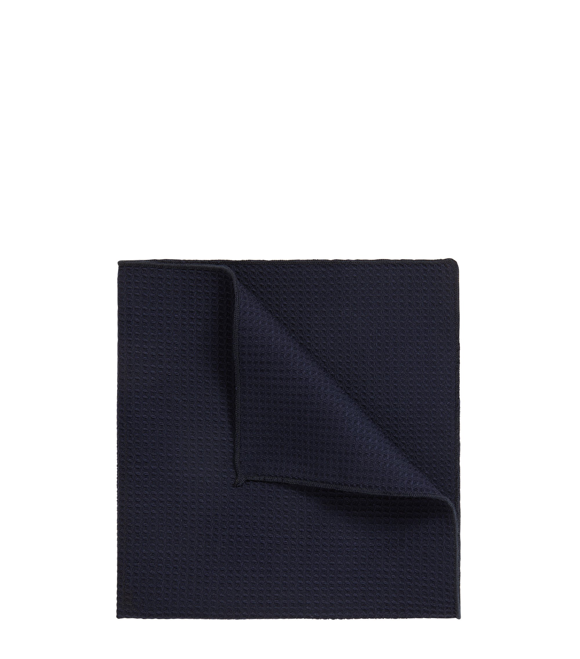 Micro-patterned pocket square in virgin wool, Dark Blue