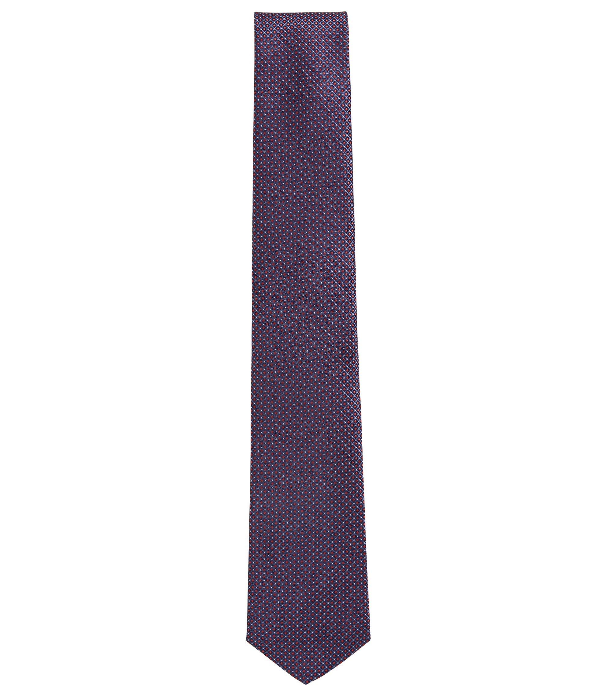 Silk tie with dot print, Dark pink