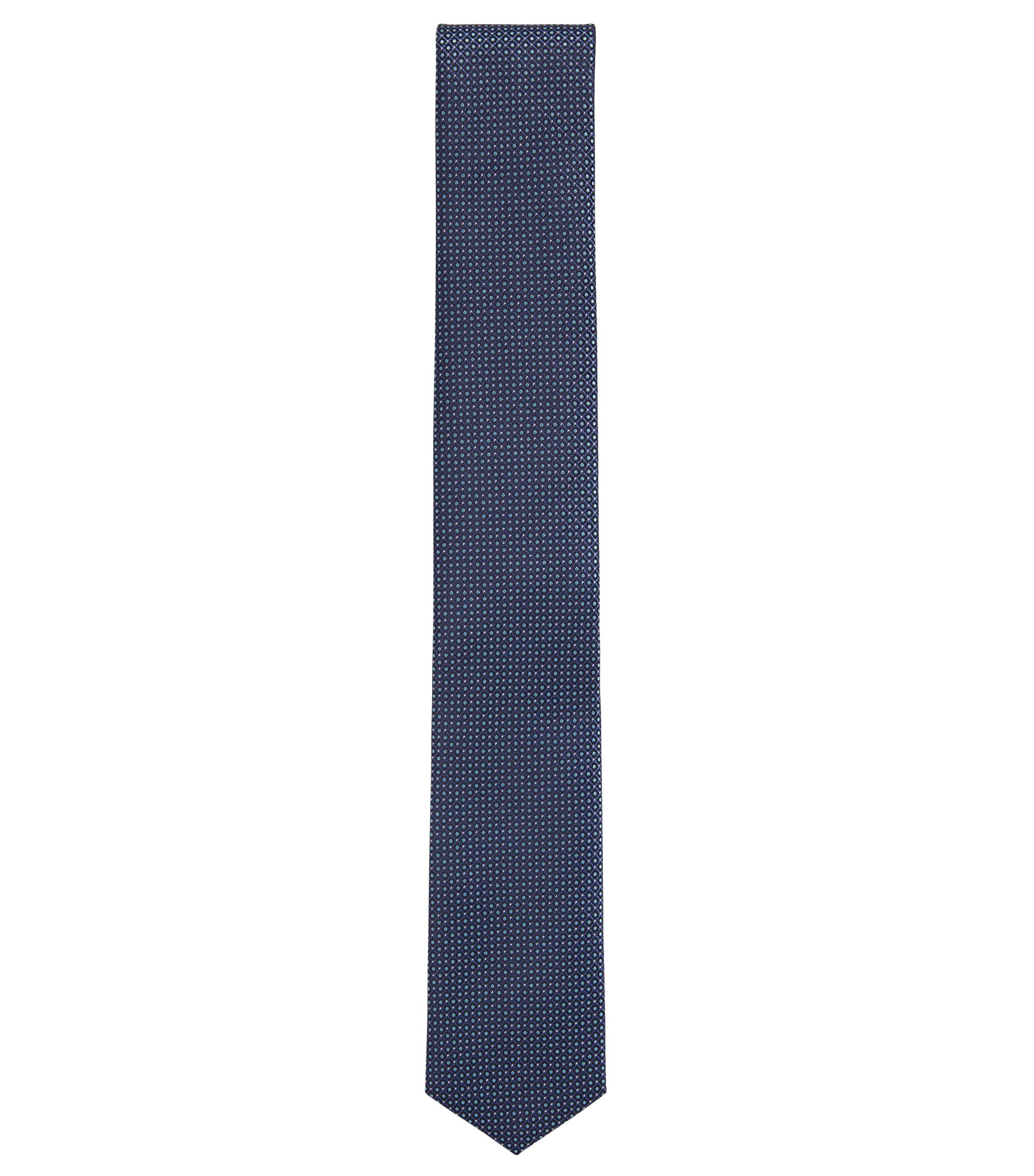 Micro-pattern tie in water-repellent silk, Blue