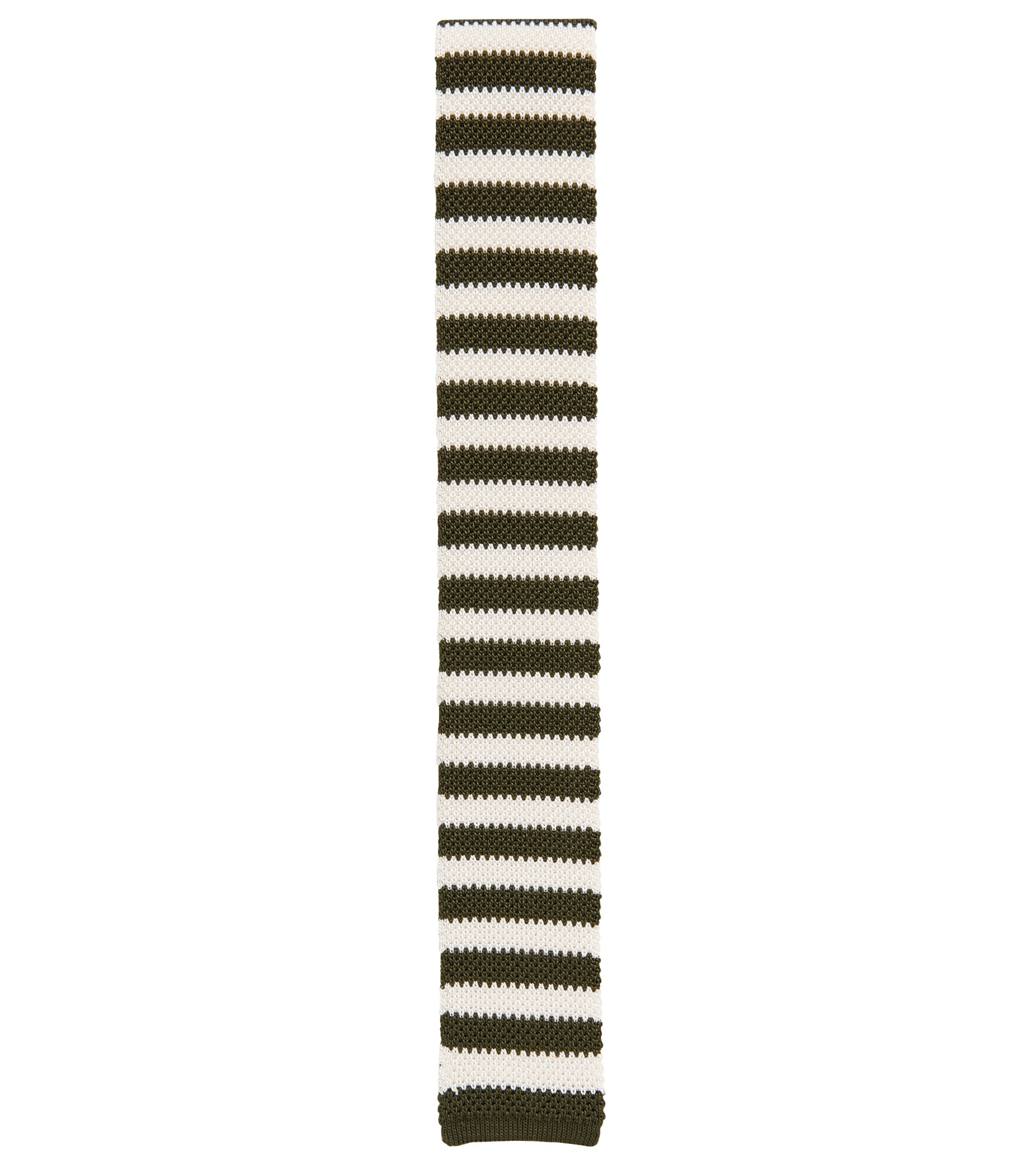 Knitted silk tie with horizontal stripes, Green