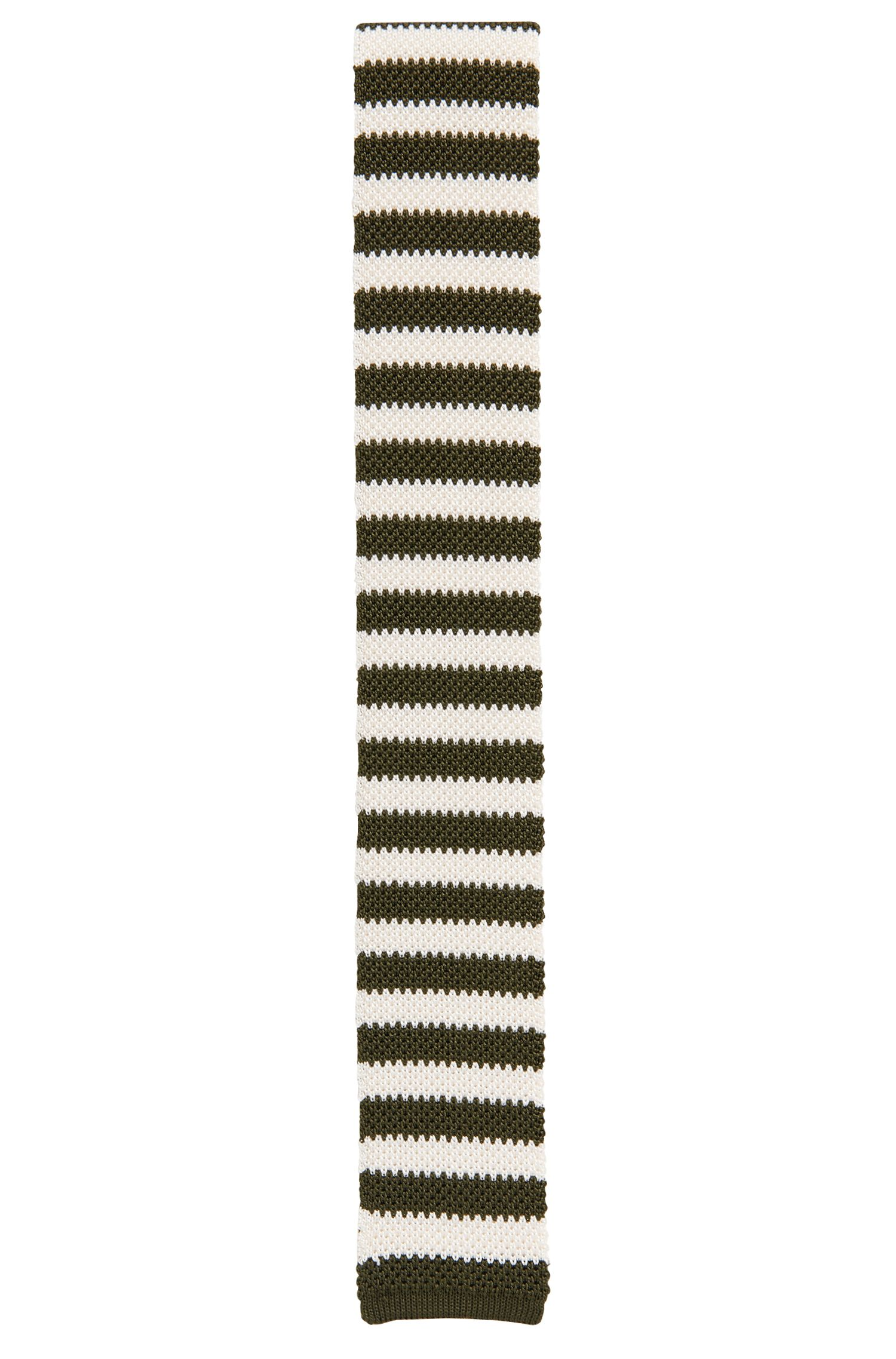 Knitted silk tie with horizontal stripes