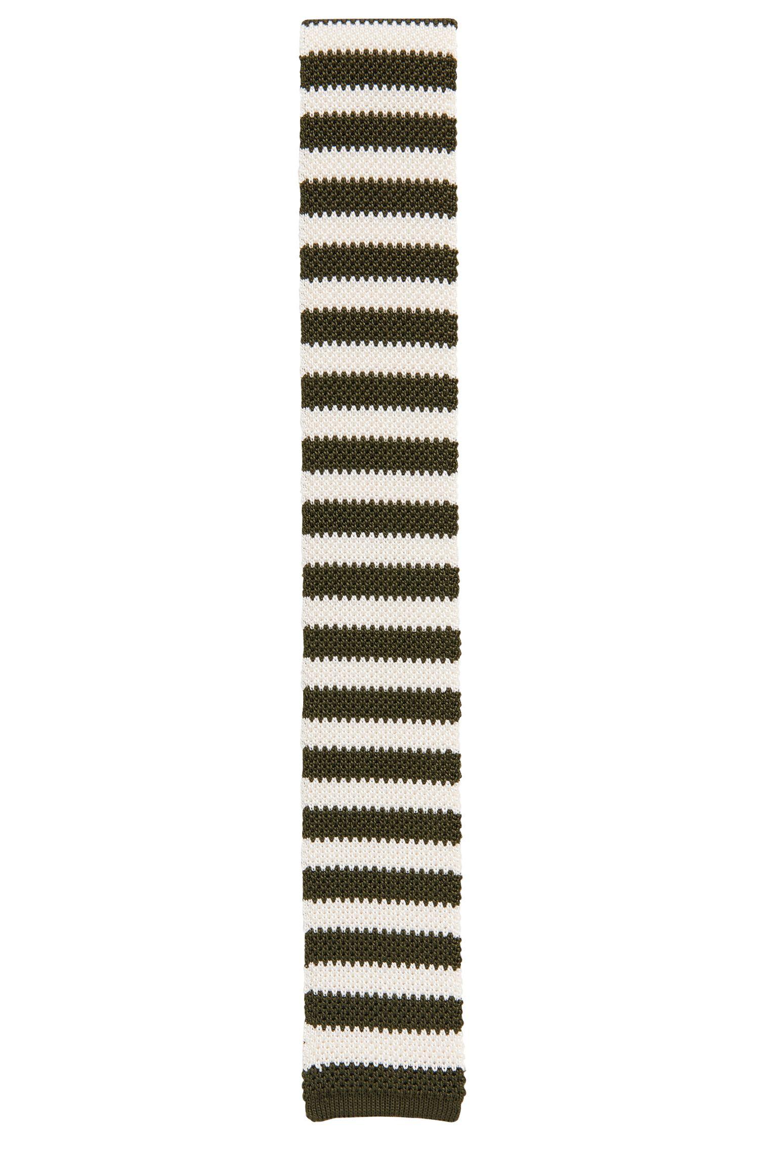 Cravate en maille de soie à rayures horizontales