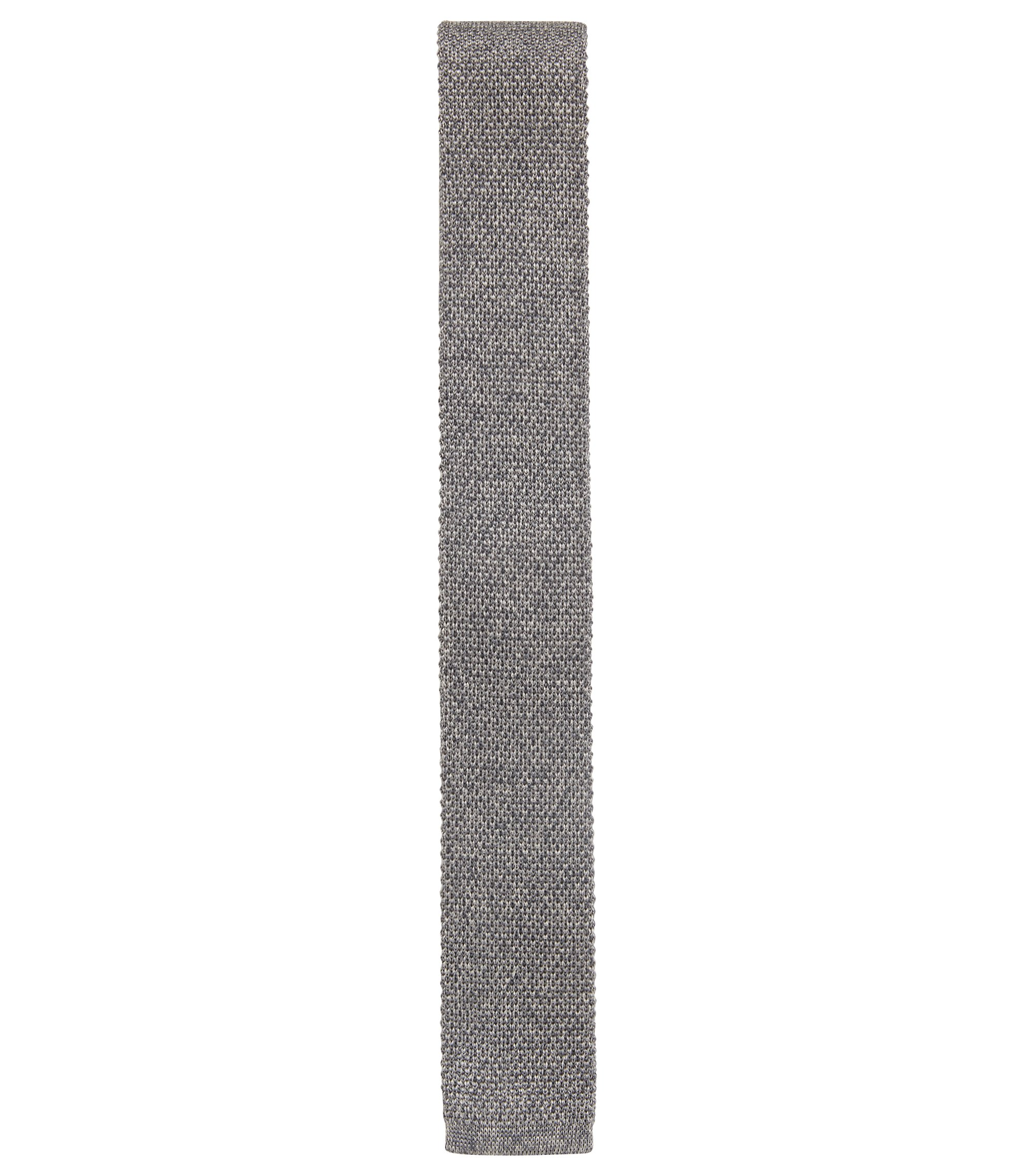 Italian-made straight-cut tie in knitted silk, Grey