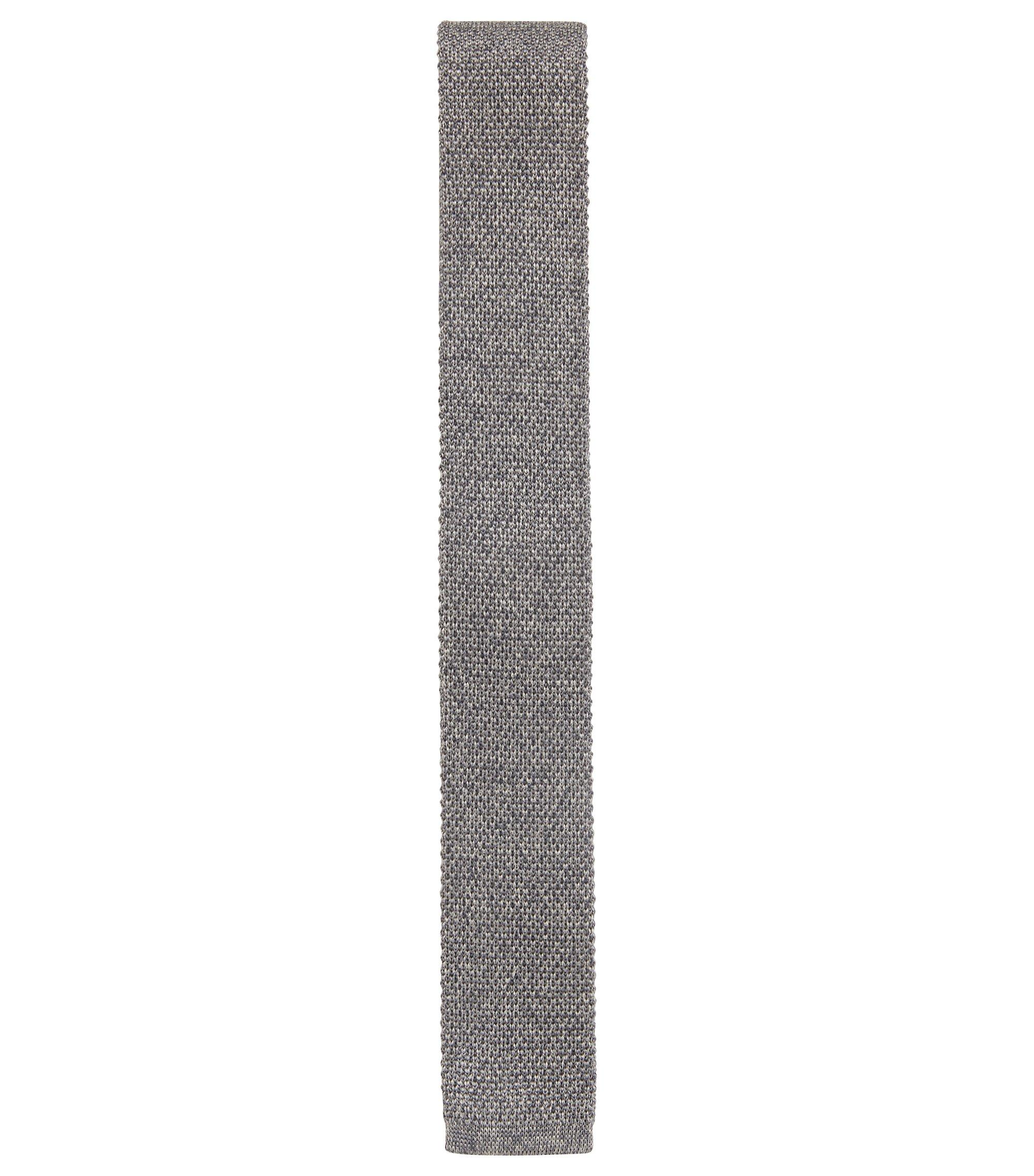 Corbata de corte recto confeccionada en Italia con seda de punto, Gris