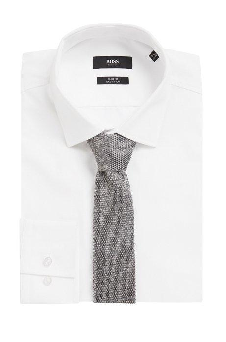 Italian-made straight-cut tie in knitted silk BOSS dVyqHrwP