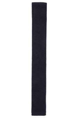 Corbata de corte recto confeccionada en Italia con seda de punto, Azul oscuro