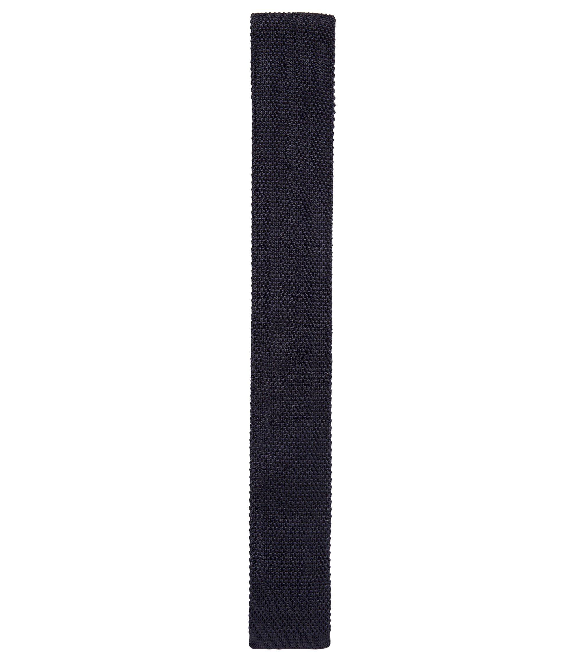 Cravatta straight-cut realizzata in Italia in seta lavorata, Blu scuro