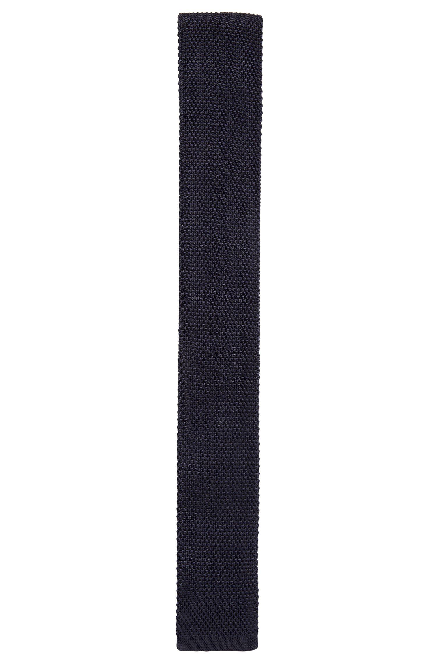 Cravate droite en maille de soie, confectionnée en Italie