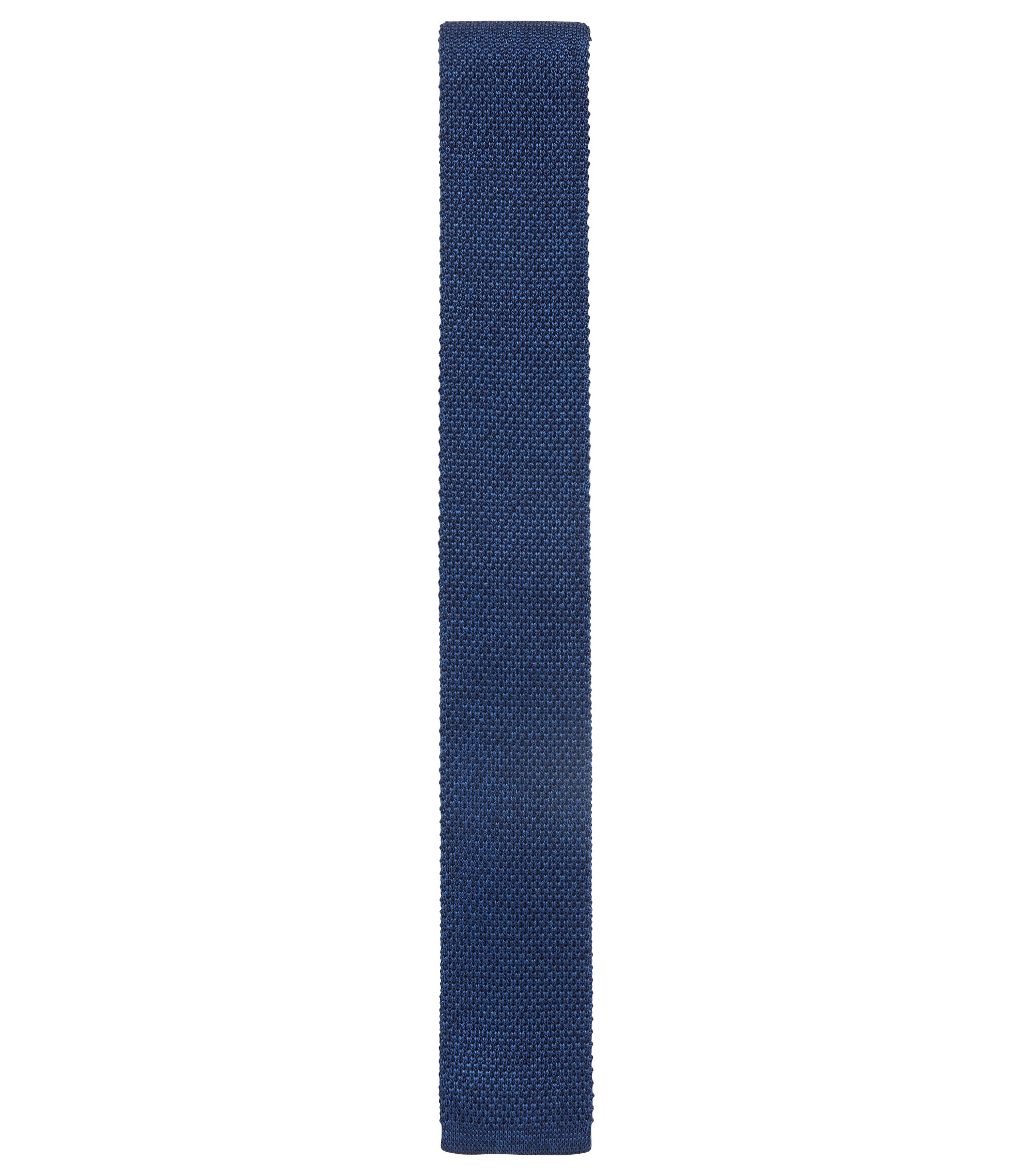 In Italië vervaardigde straight-cut stropdas van gebreide zijde, Blauw
