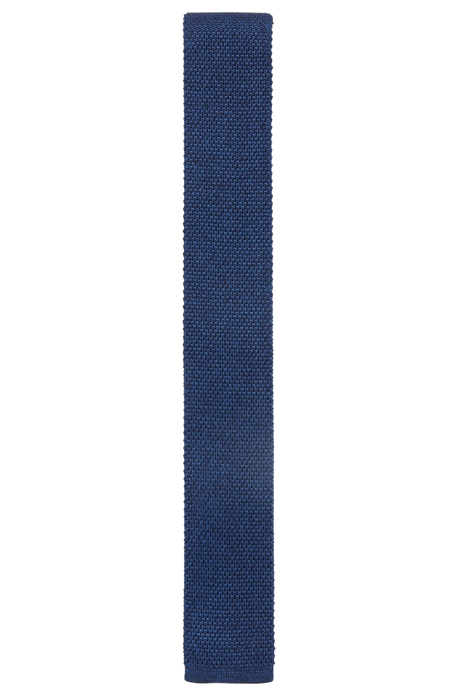 Italian-made straight-cut tie in knitted silk, Blue