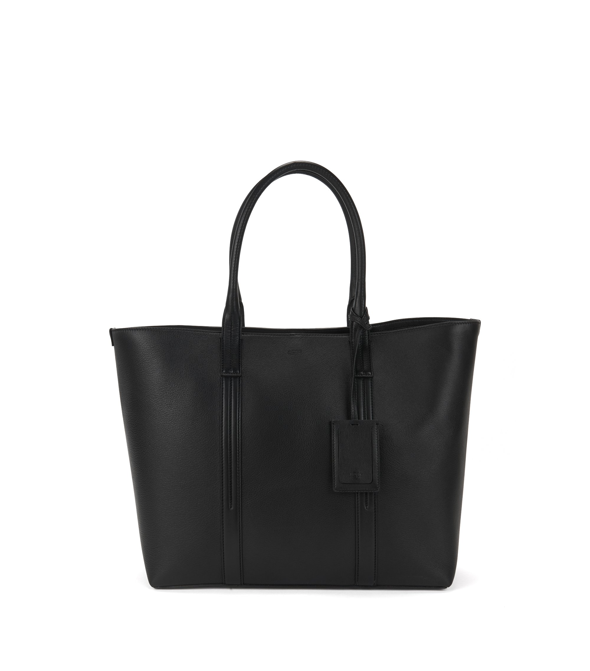 Printed-leather tote bag with polished silver hardware, Black