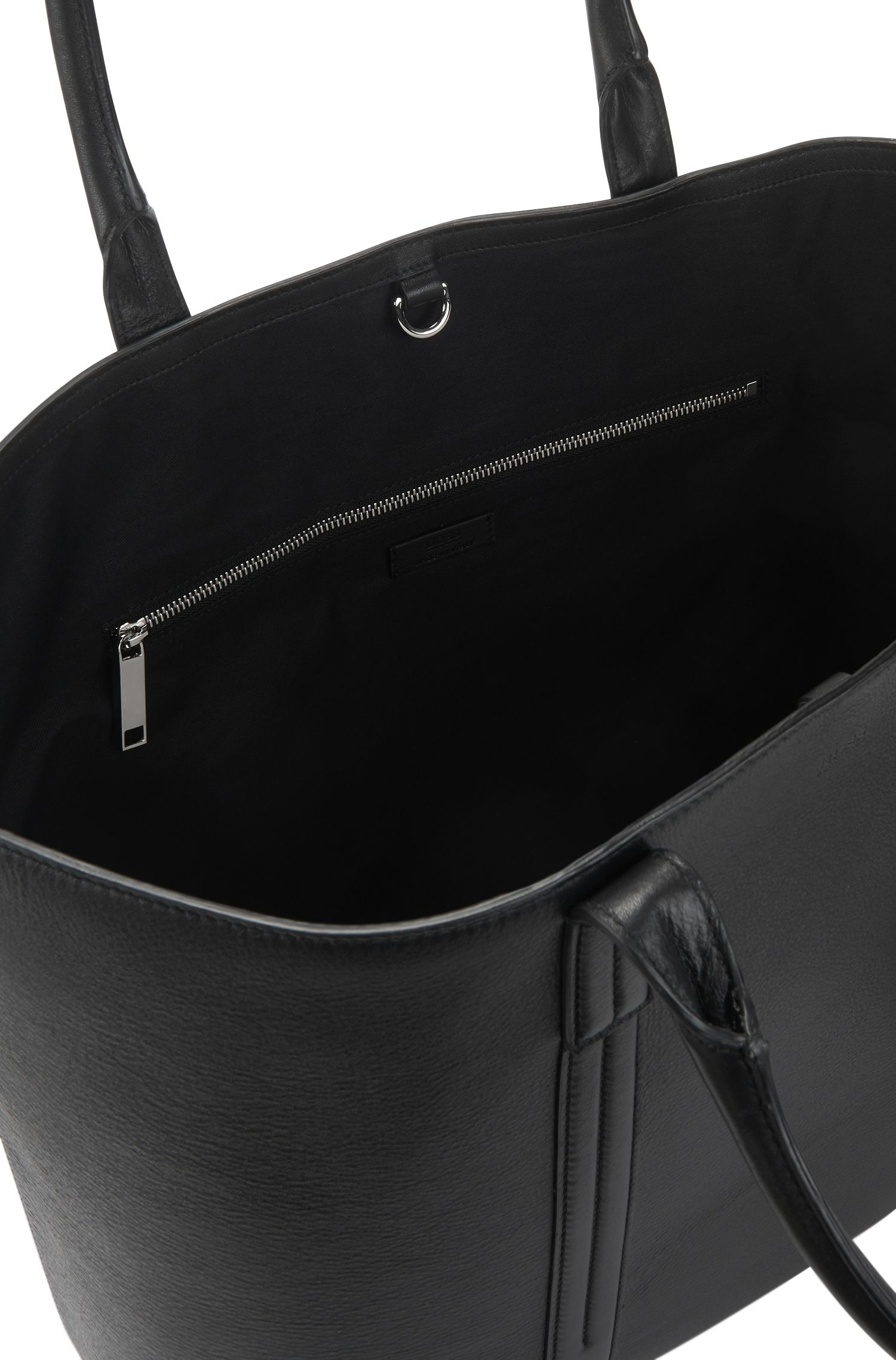 Printed-leather tote bag with polished silver hardware
