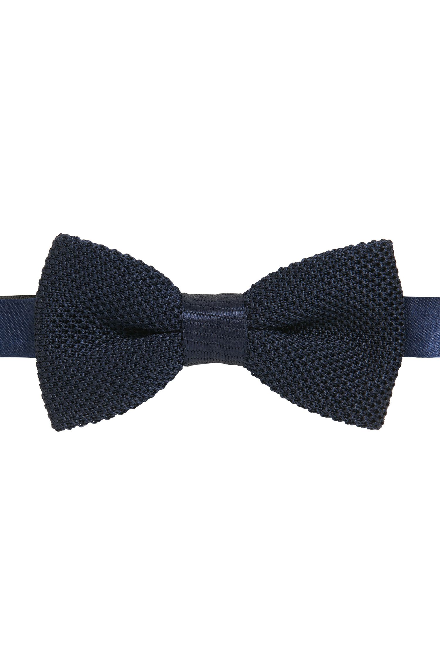Italian-made bow tie in knitted silk piqué