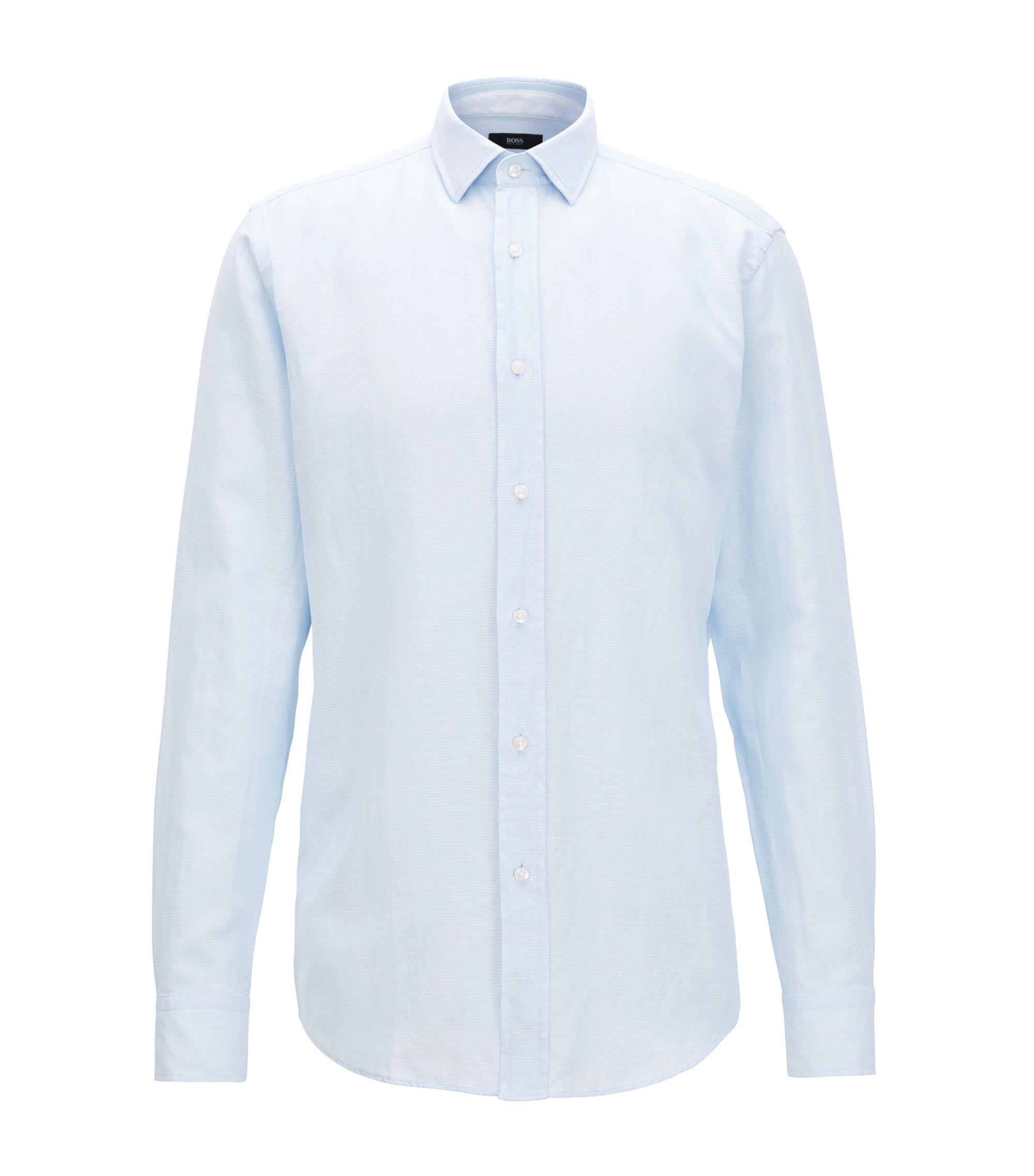 Micro-pattern cotton shirt in a slim fit, Light Blue