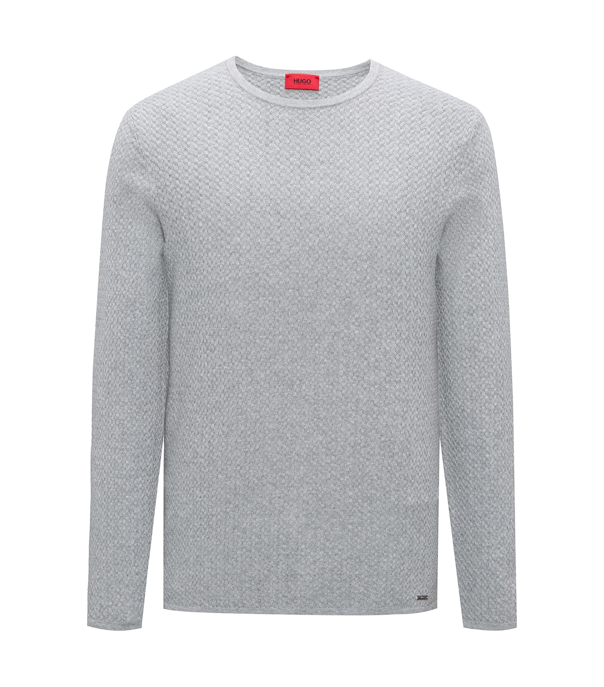 Slim-fit sweater in herringbone cotton jacquard, Open Grey