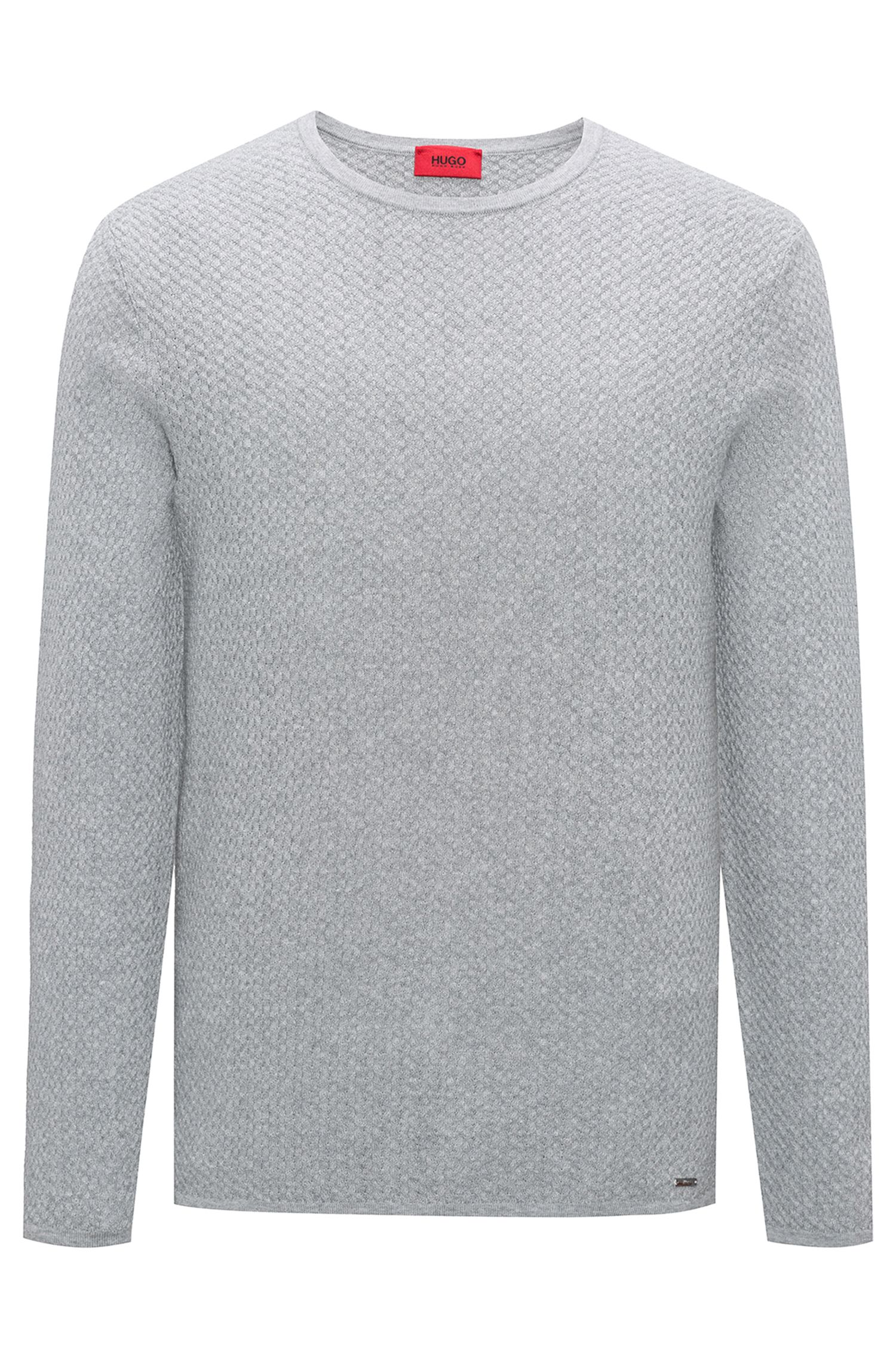 Slim-fit trui in een jacquard van katoen met visgraatdessin, Lichtgrijs