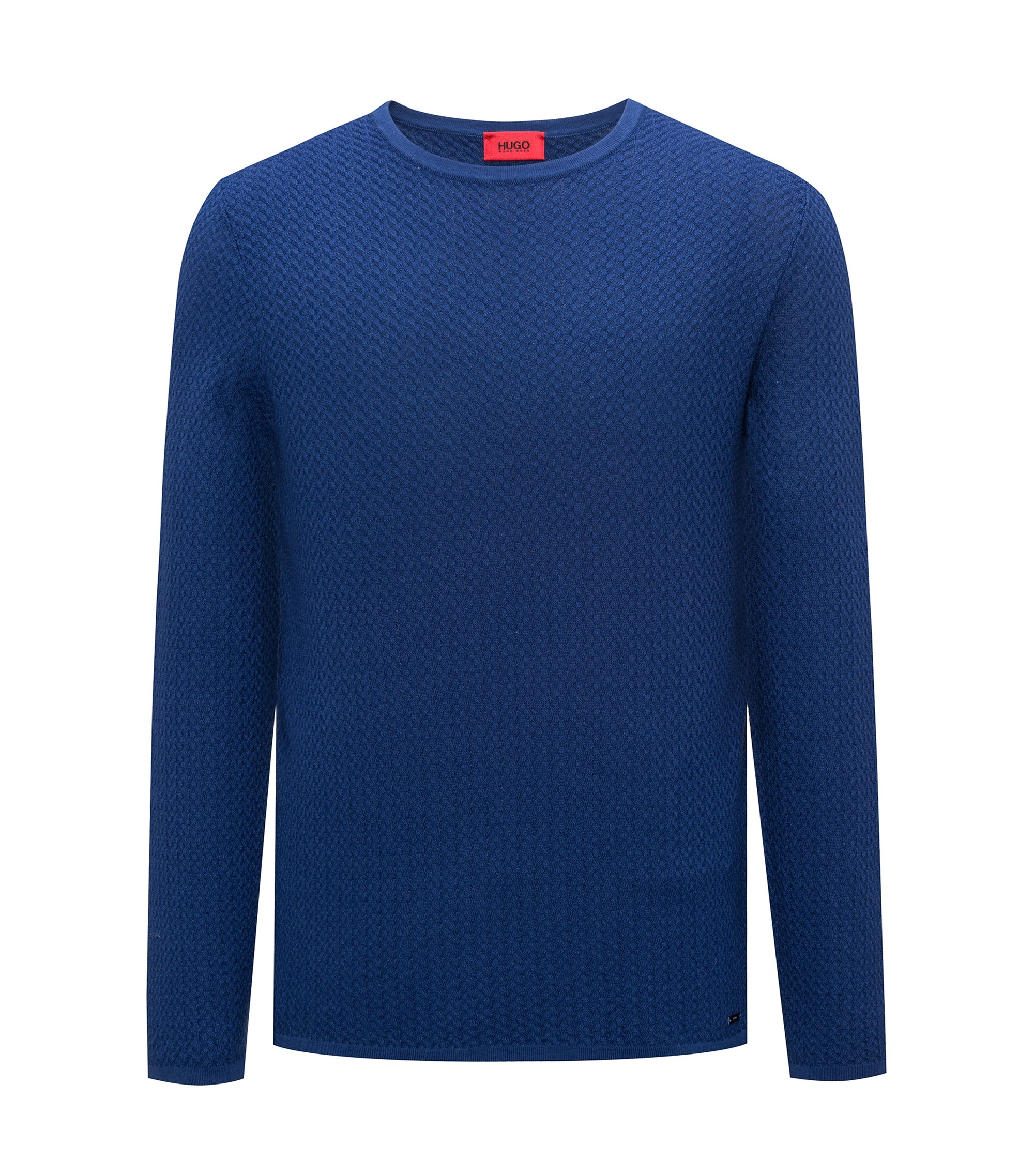 Slim-fit sweater in herringbone cotton jacquard, Dark Blue