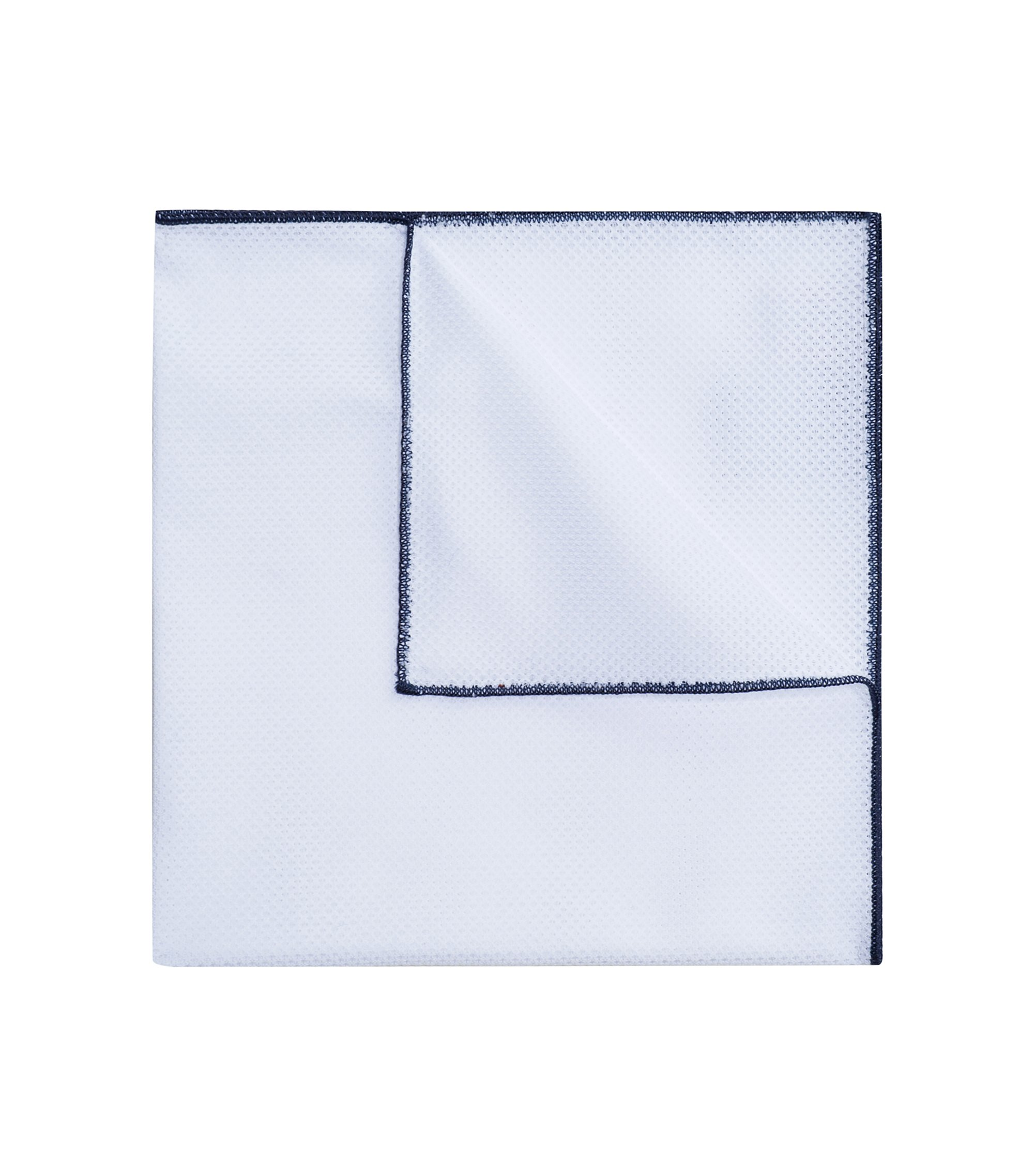 Cotton pocket square with contrast edges, Dark Blue