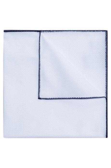 Pochet van katoen met contrastranden, Donkerblauw