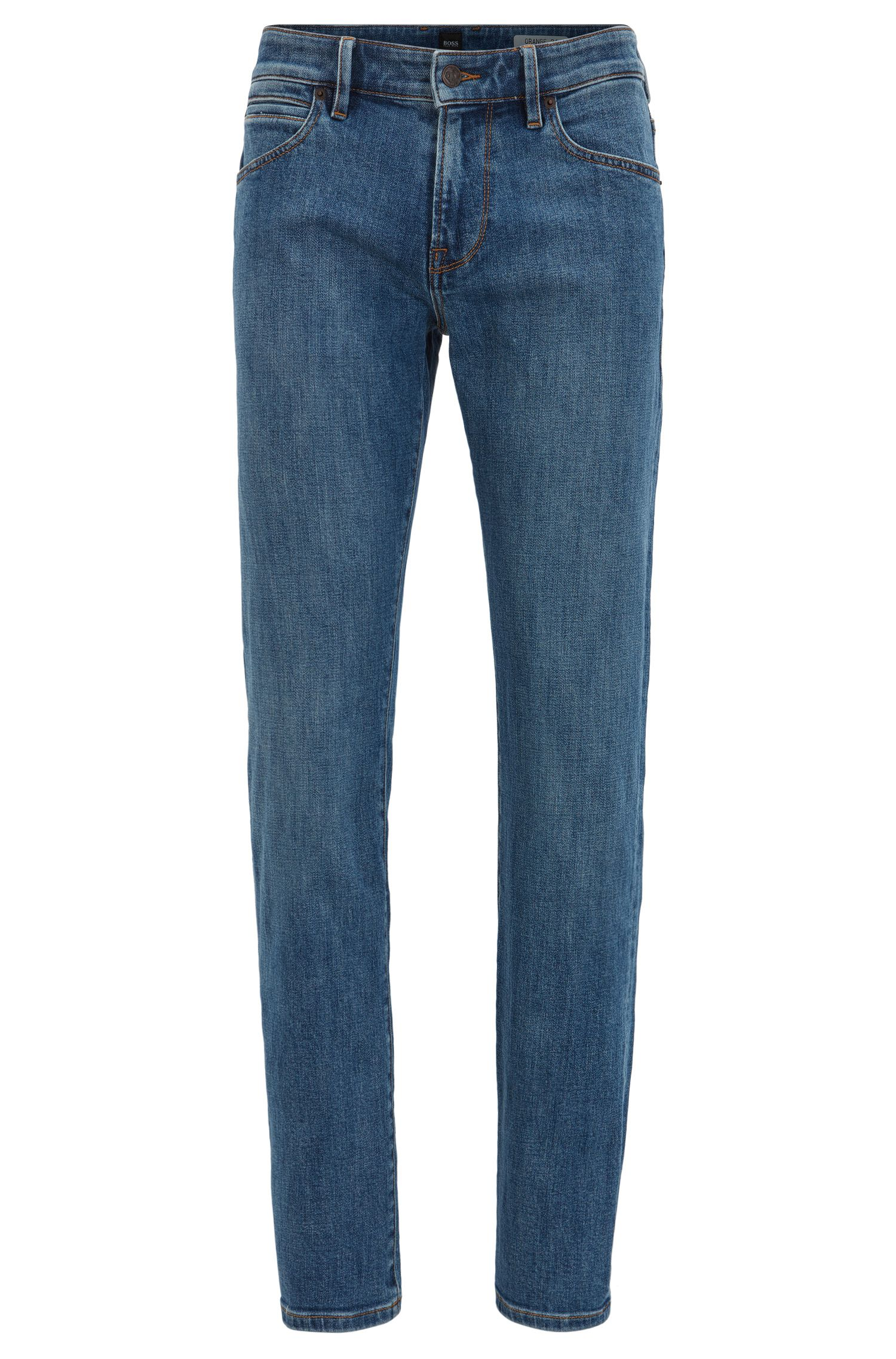 Regular-fit jeans van middelblauw stretchdenim