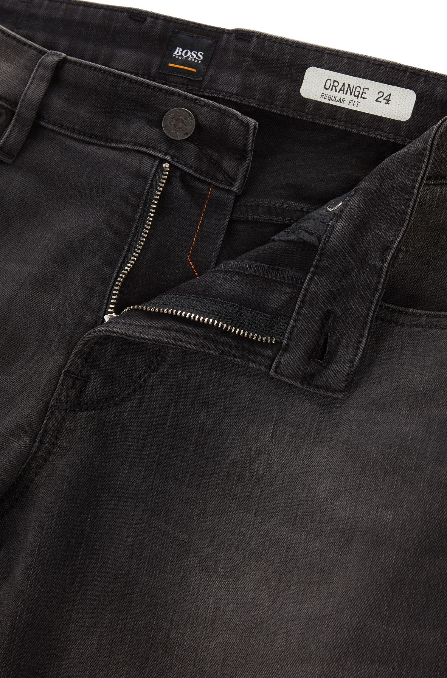 Regular-fit grijze jeans van stretchdenim