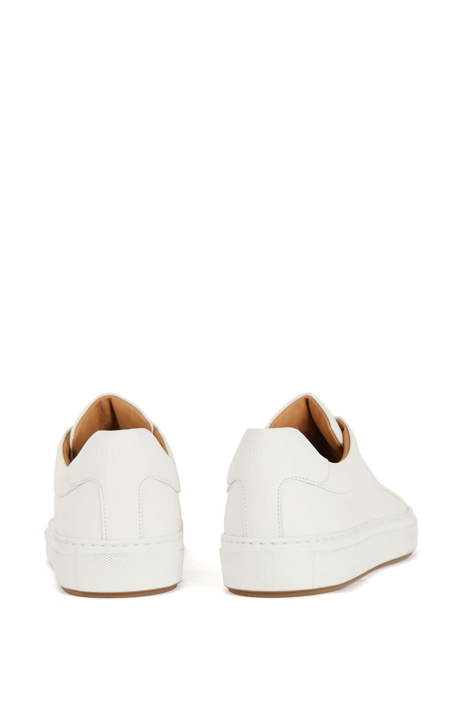 Tennis-style trainers in burnished leather, White