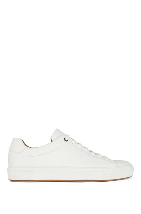 Italian-crafted trainers in burnished leather, White