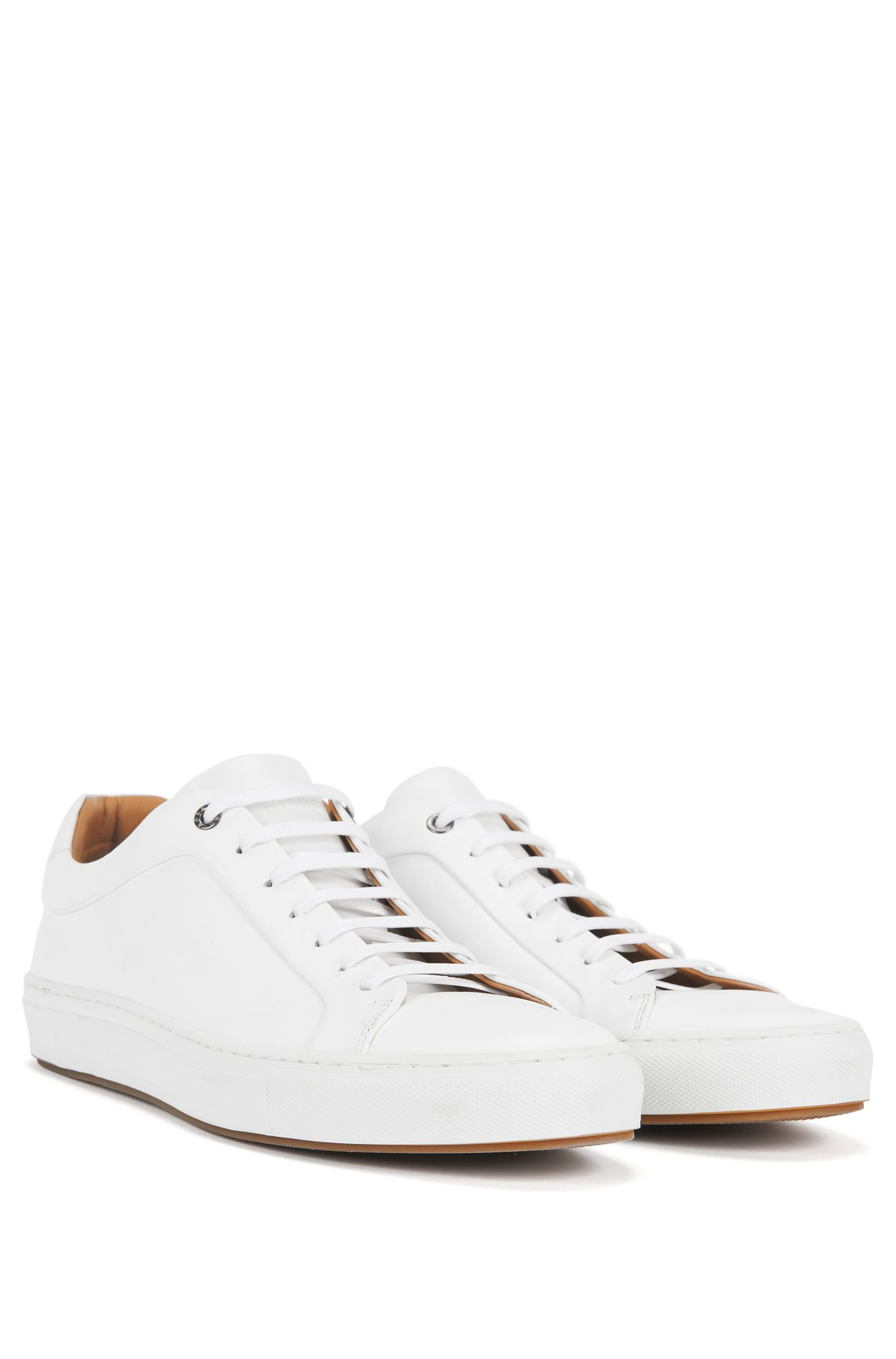 Sneakers in stile tennis in pelle brunita