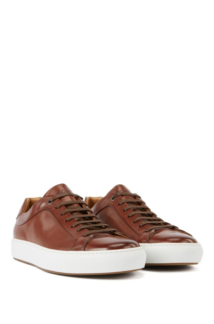 Italian-crafted trainers in burnished leather