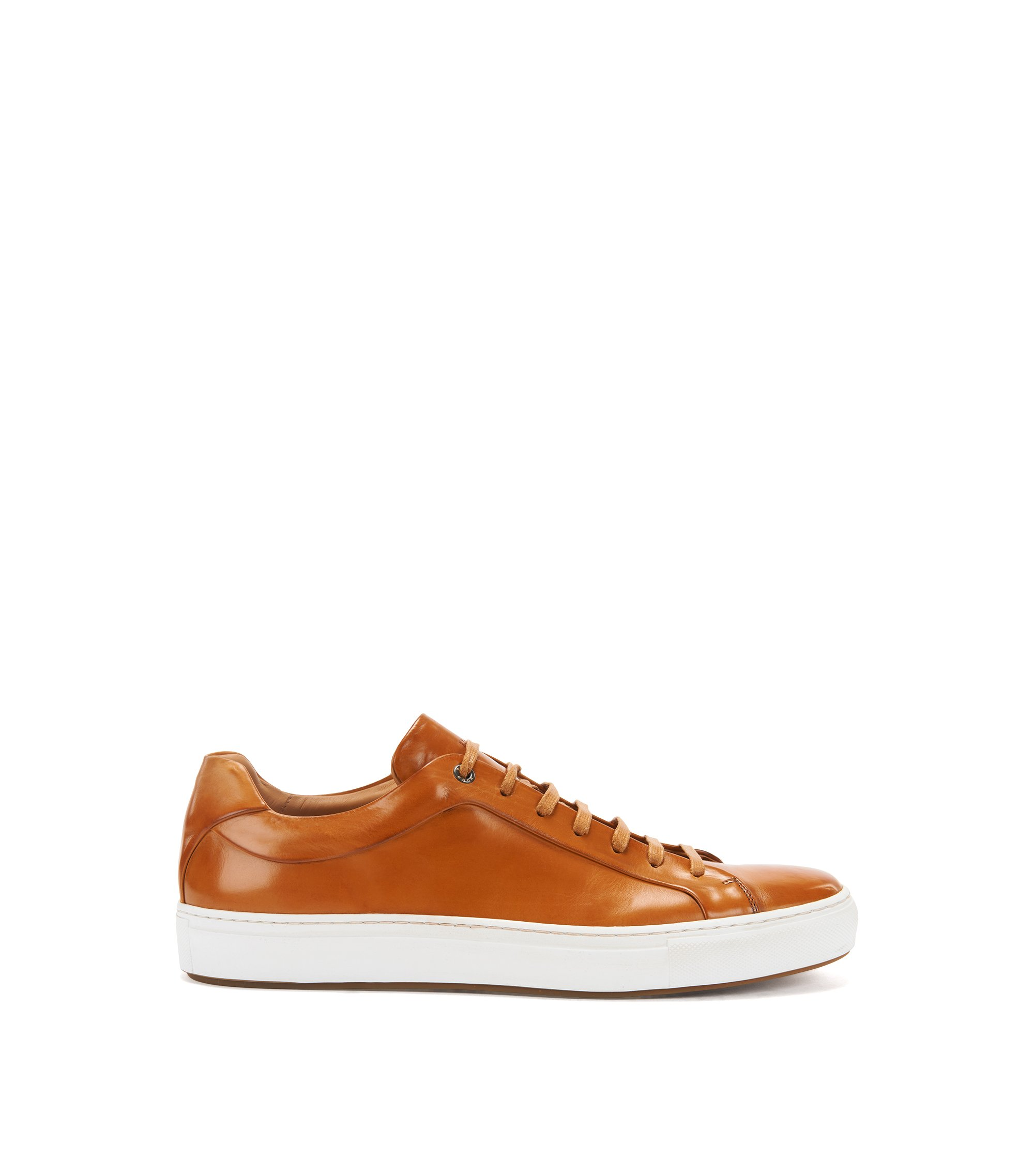 Tennis-style trainers in burnished leather, Brown