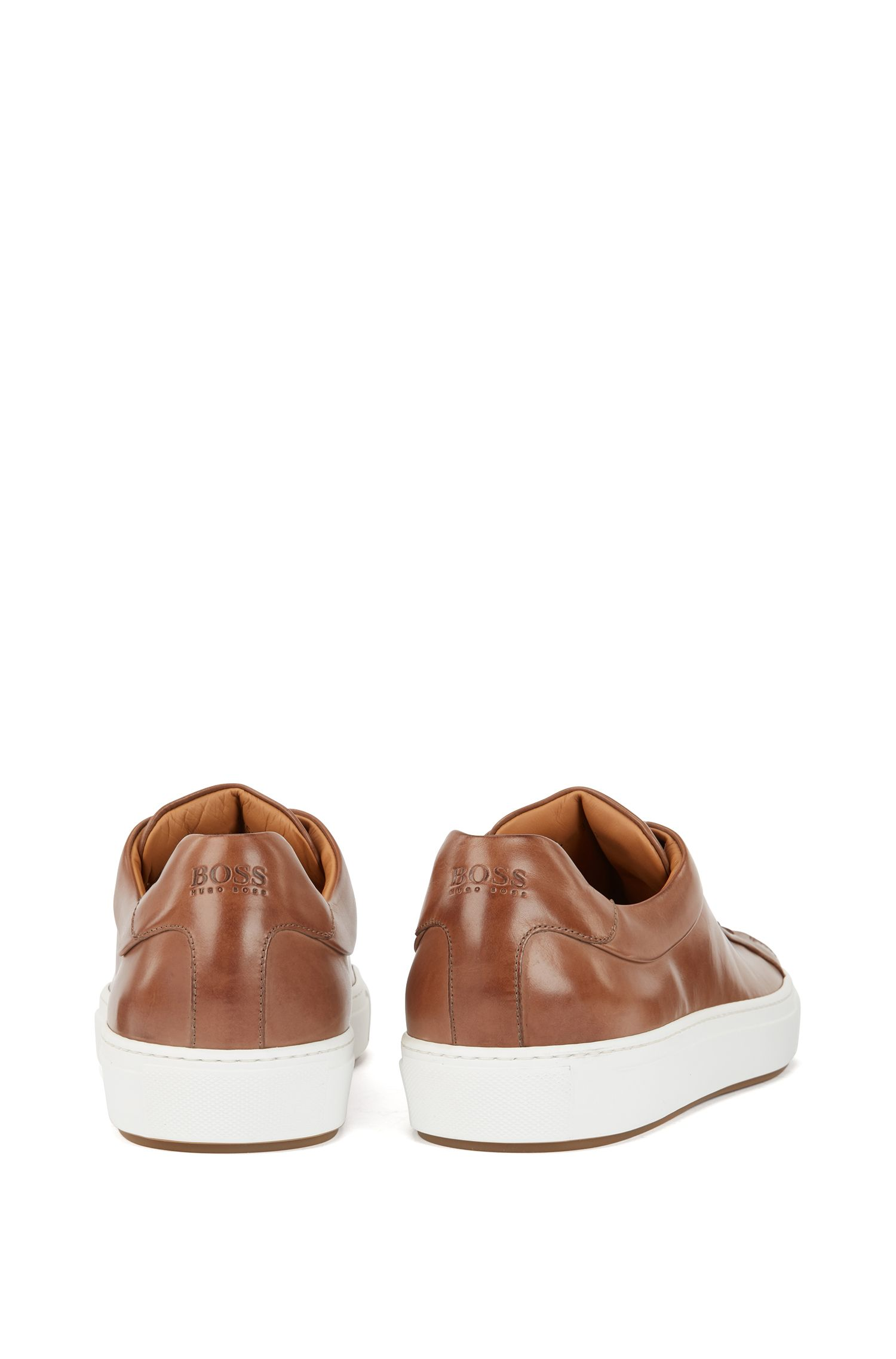 Tennis-style trainers in burnished leather, Khaki