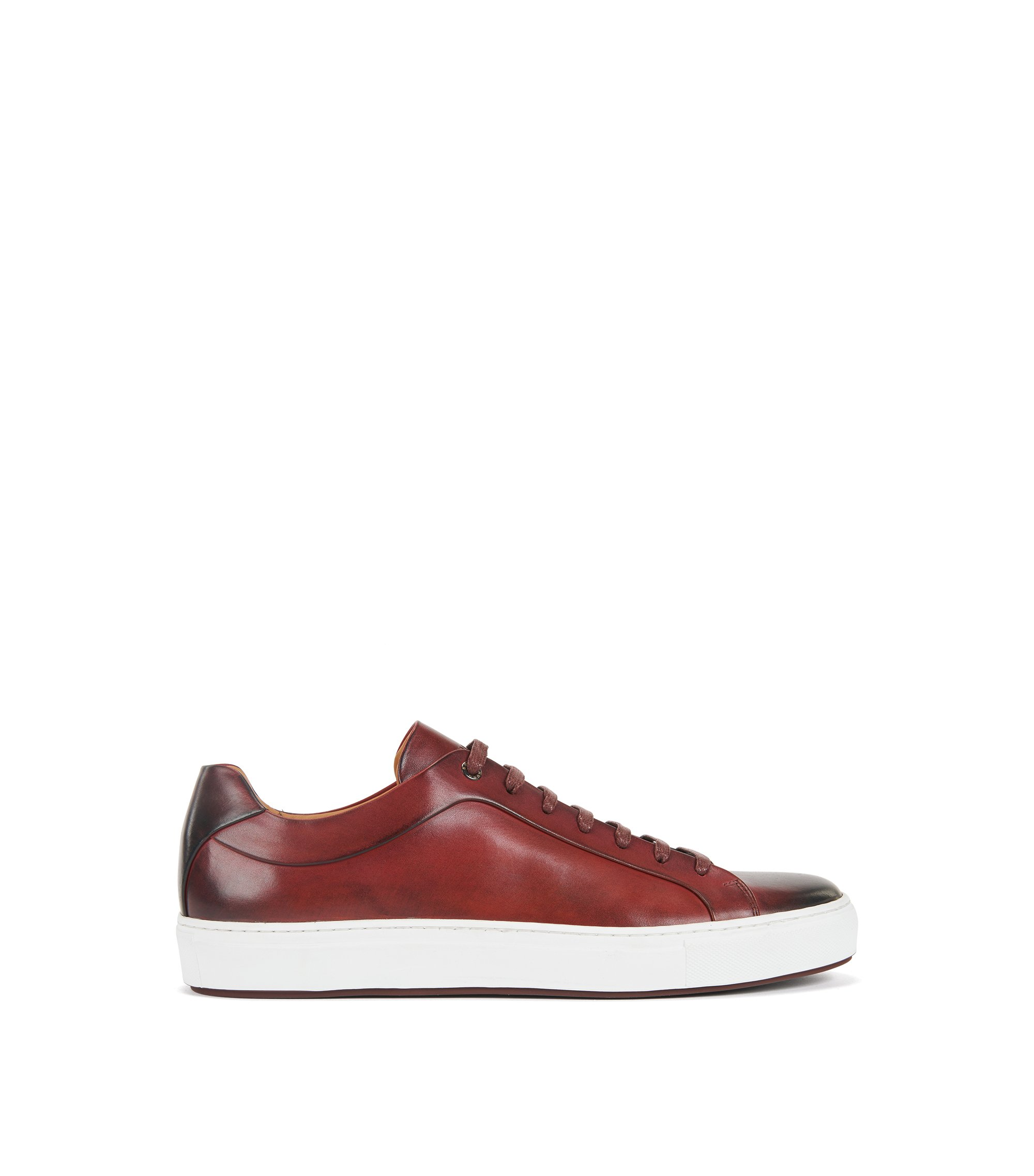 Baskets style tennis en cuir bruni, Rouge