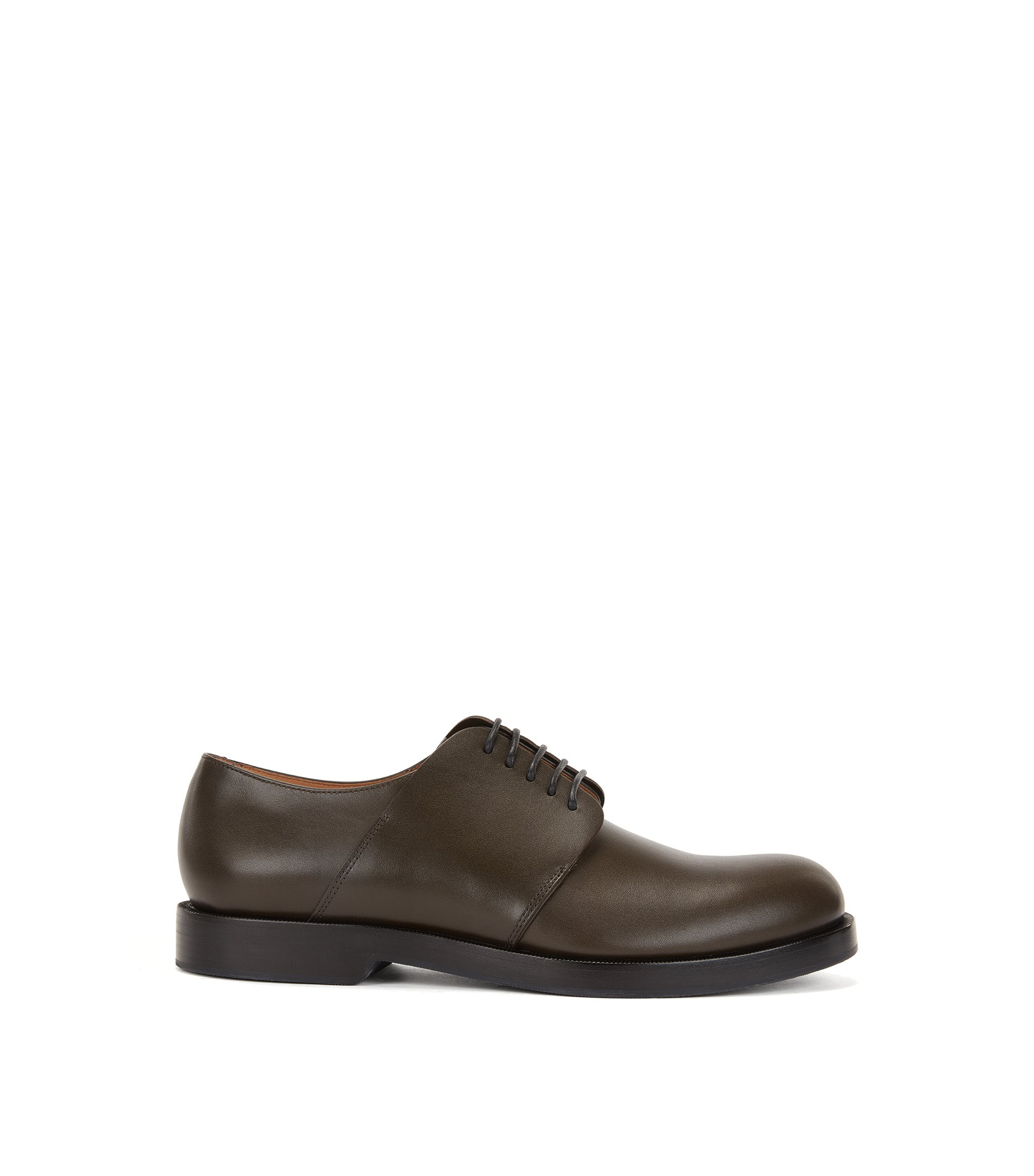 Derby shoes in leather, Dark Green