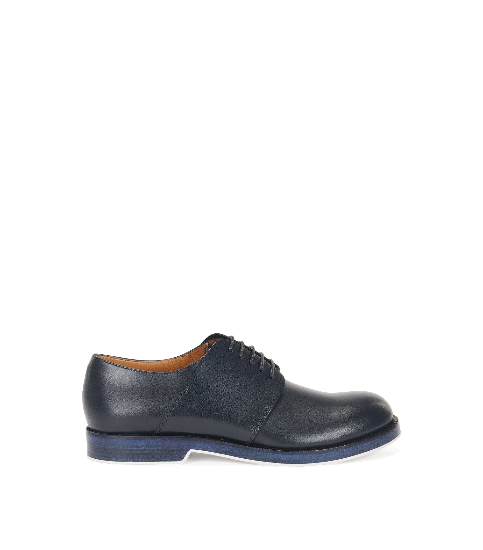 Derby shoes in leather, Dark Blue
