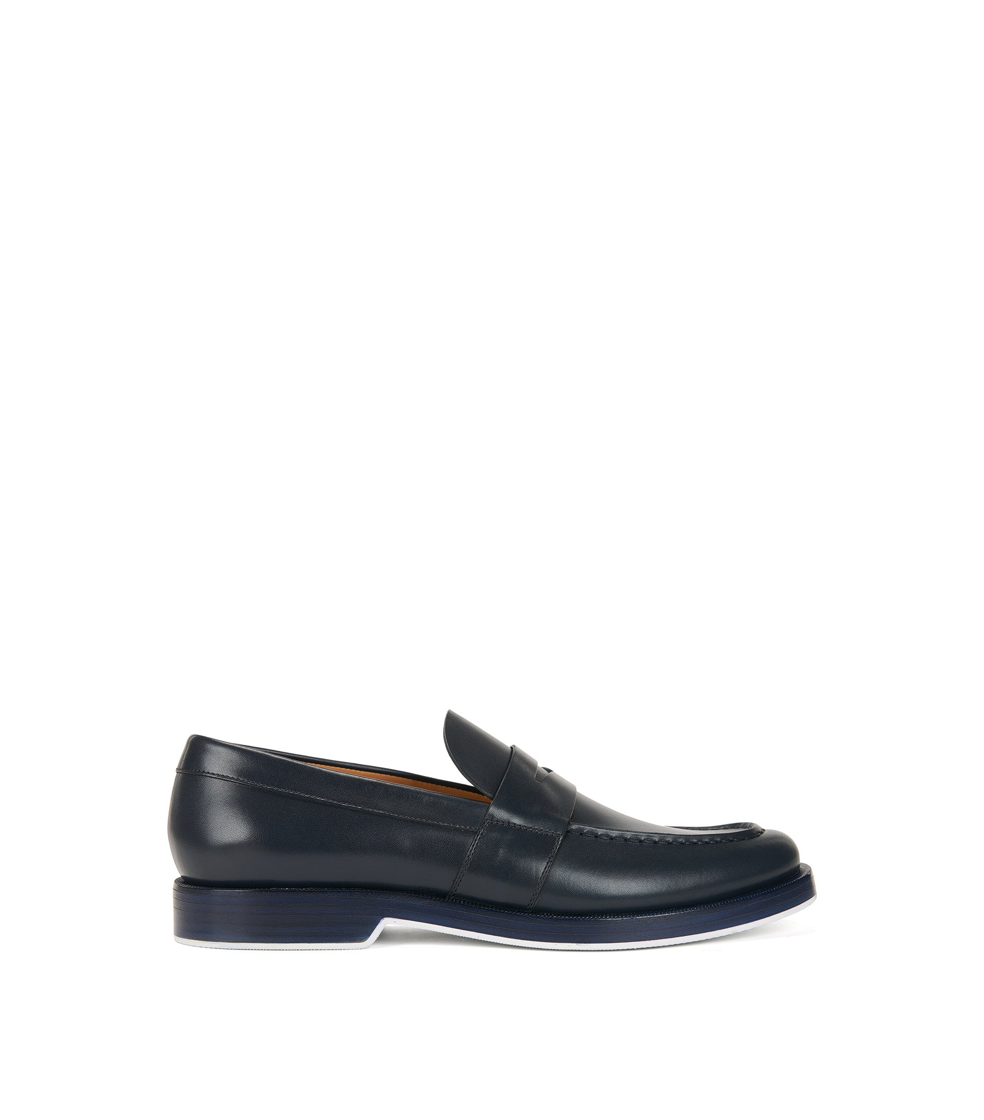 Penny loafers in calf leather, Dark Blue