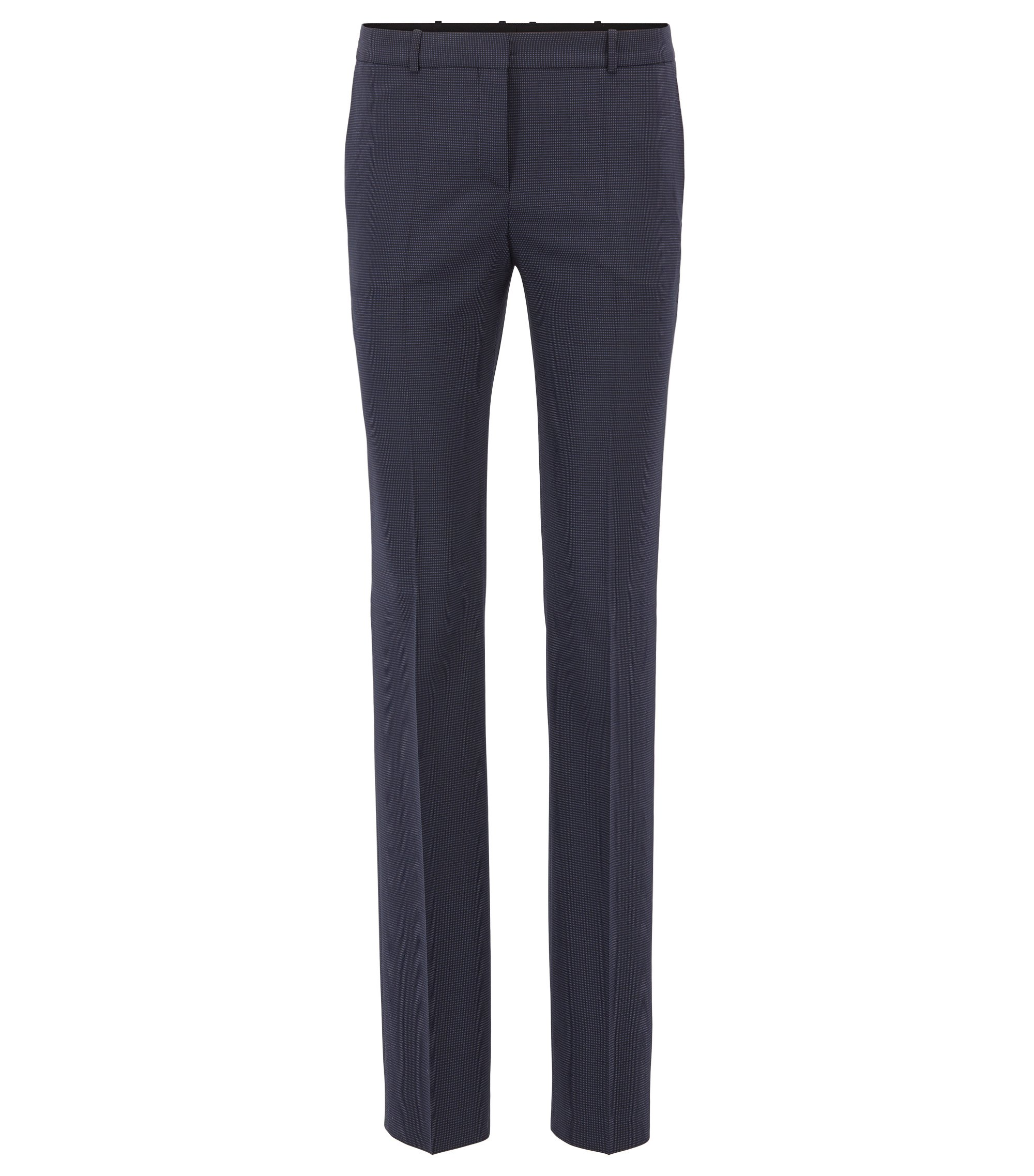 Regular-fit tailored trousers in stretch virgin wool, Patterned