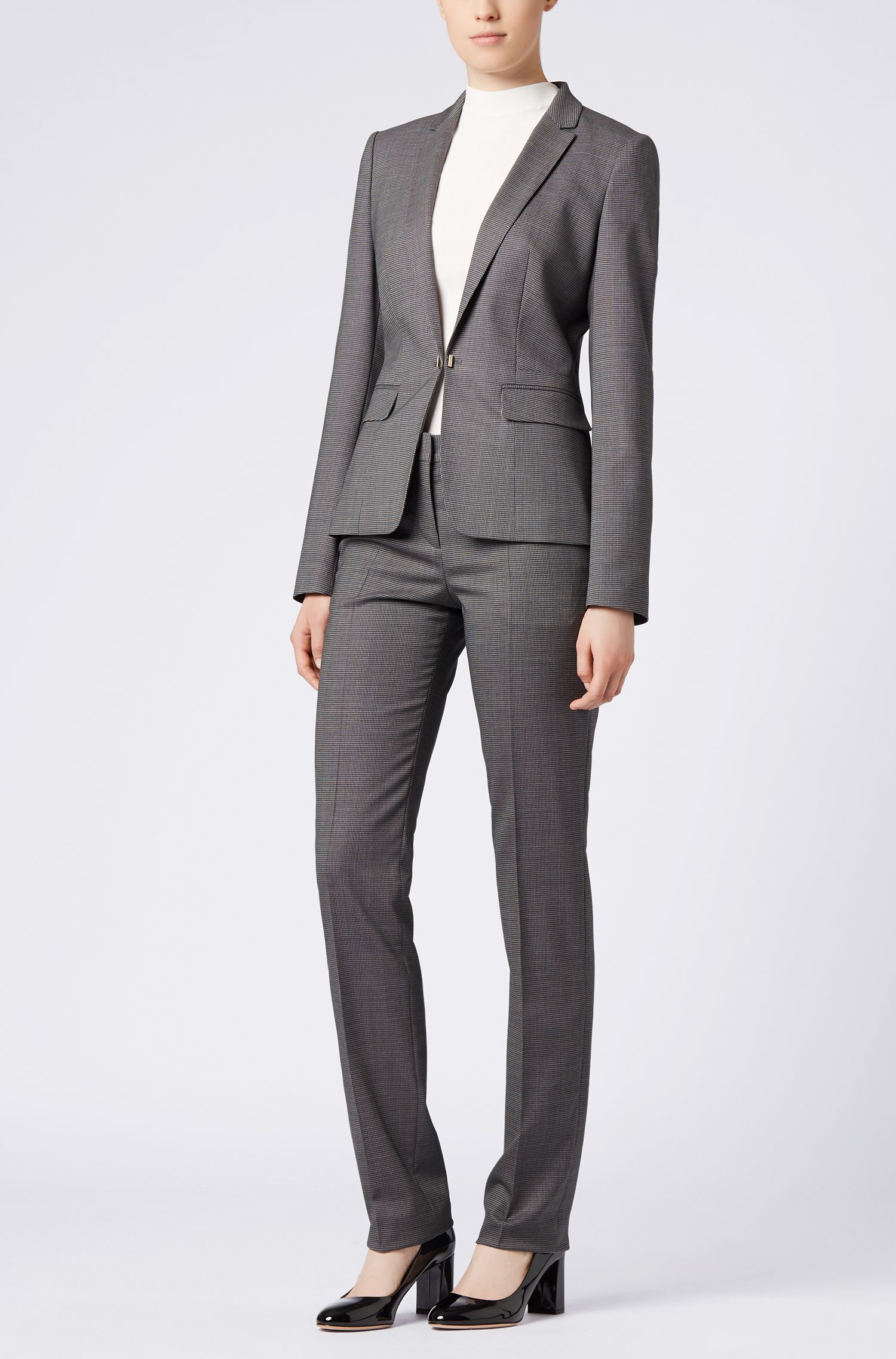 Pantalon ajusté Regular Fit en laine vierge stretch