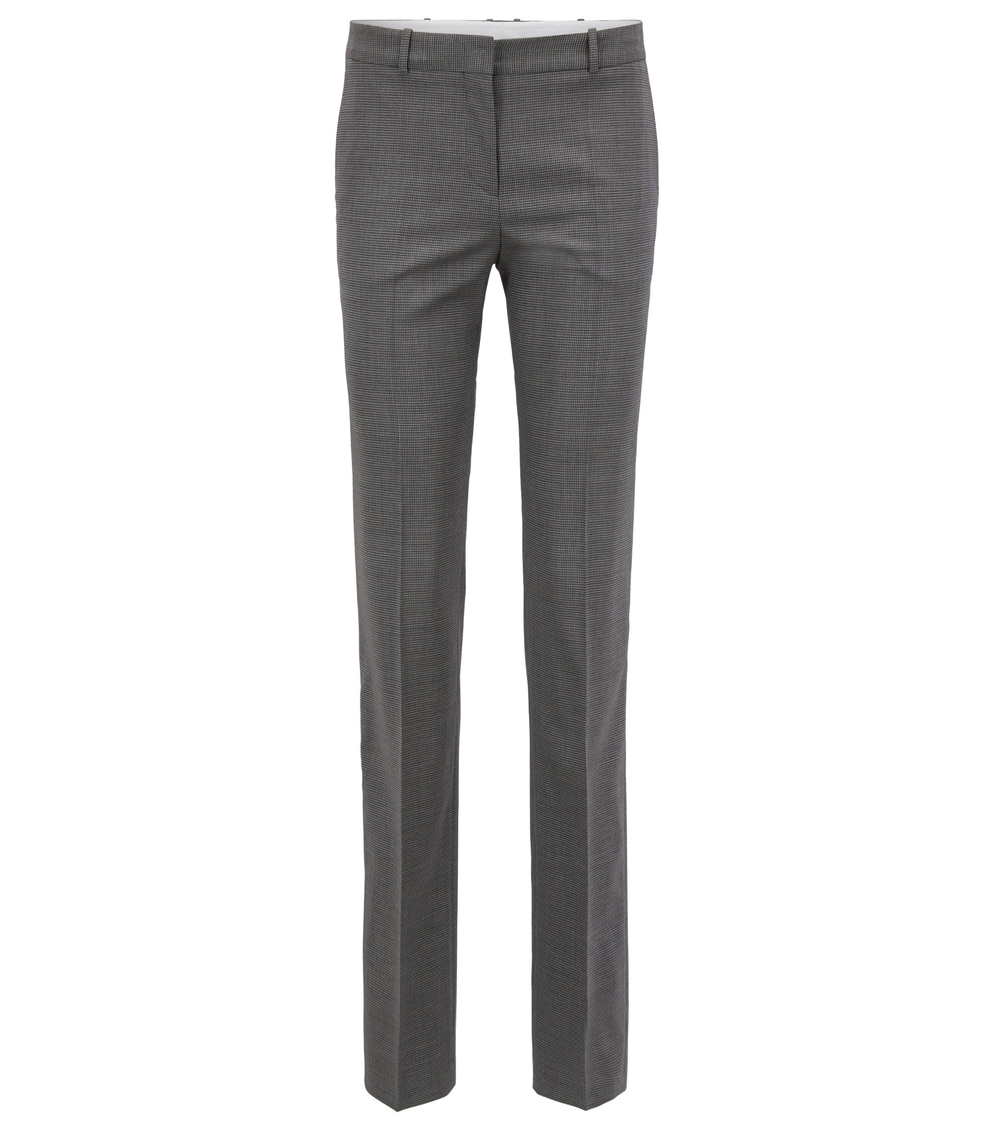 Regular-fit tailored trousers in stretch virgin wool, Grey