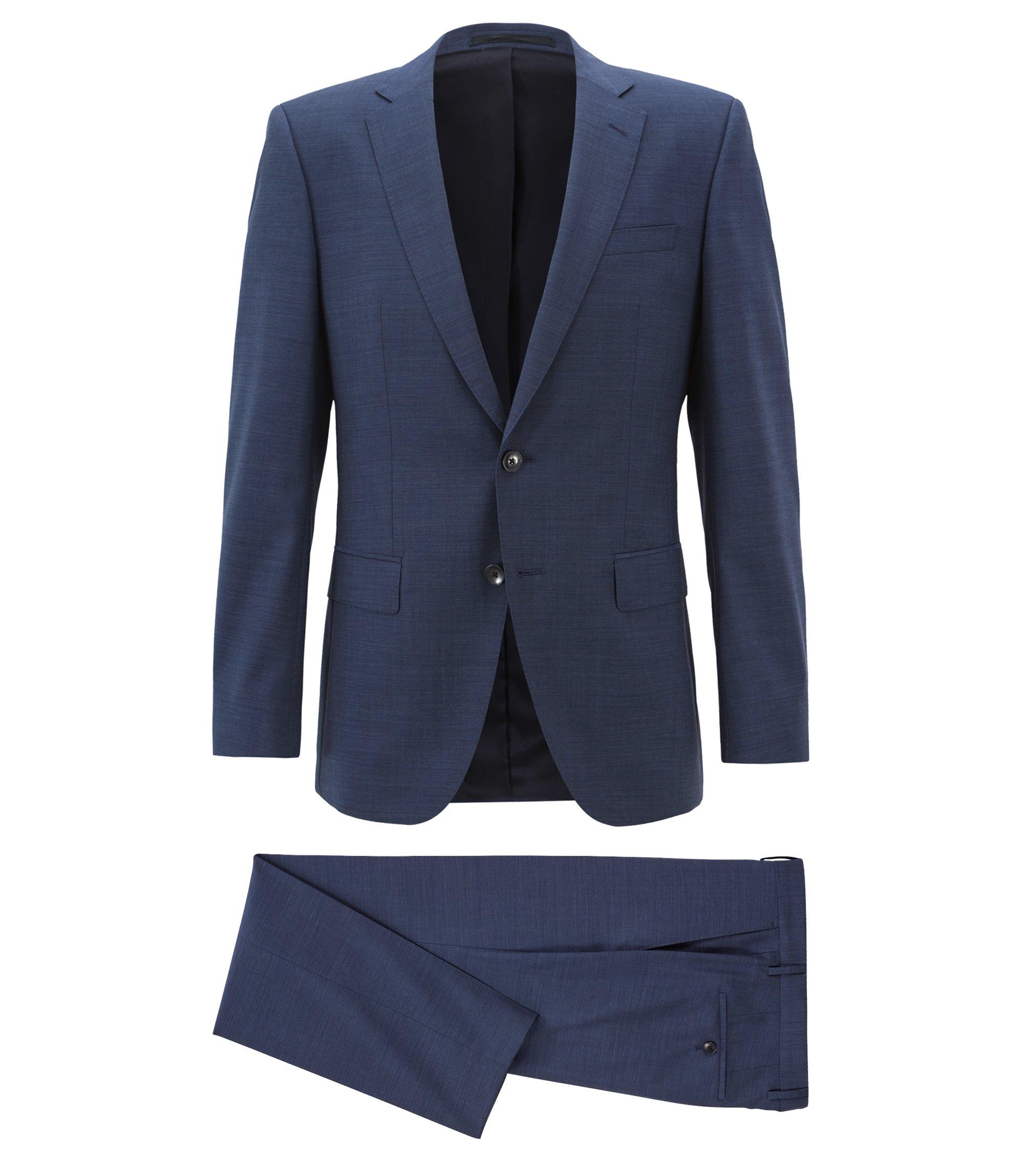 Slim-fit kostuum van middelzware scheerwol, Donkerblauw