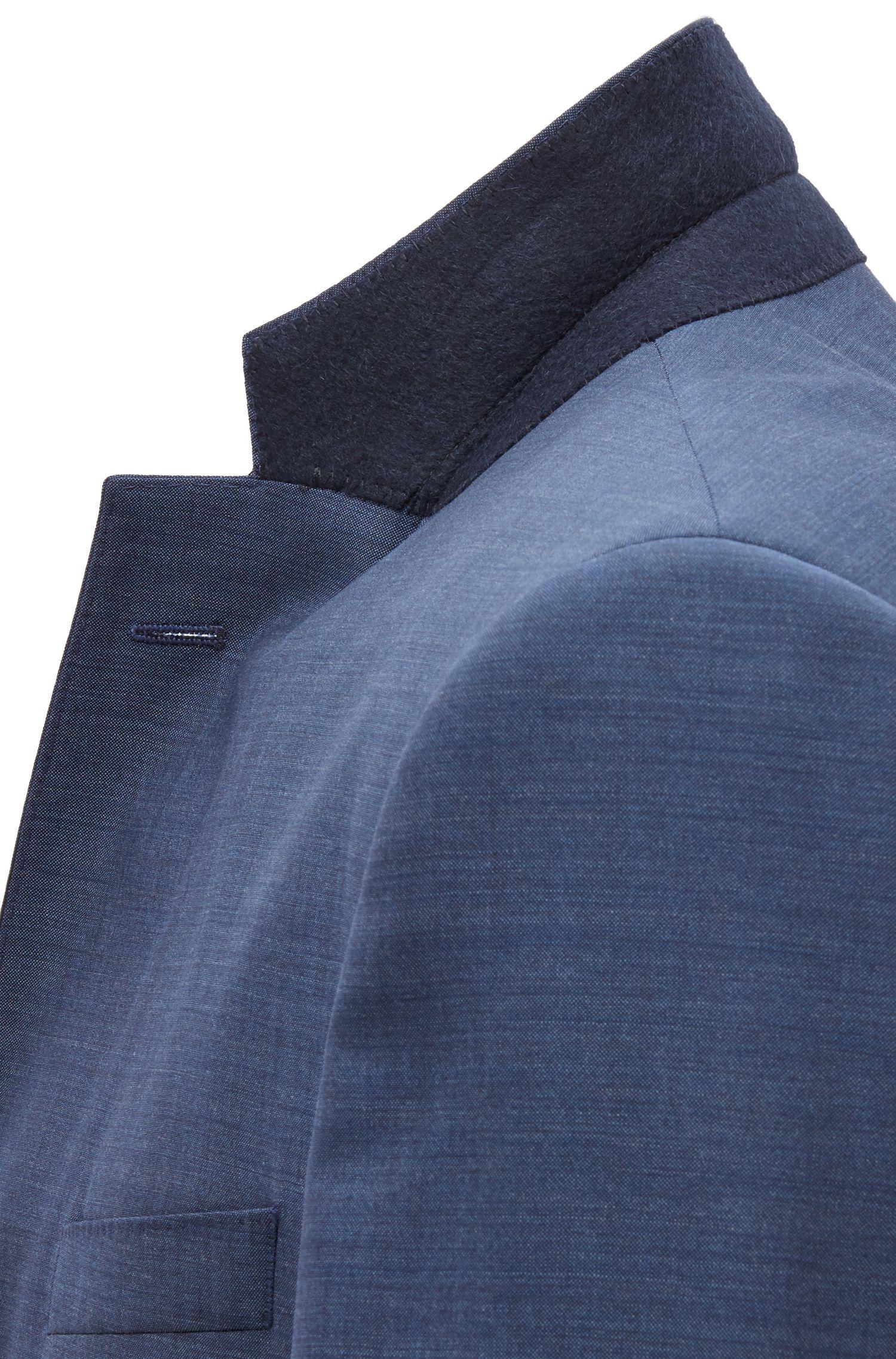 Costume Slim Fit en laine vierge de poids moyen, Bleu foncé