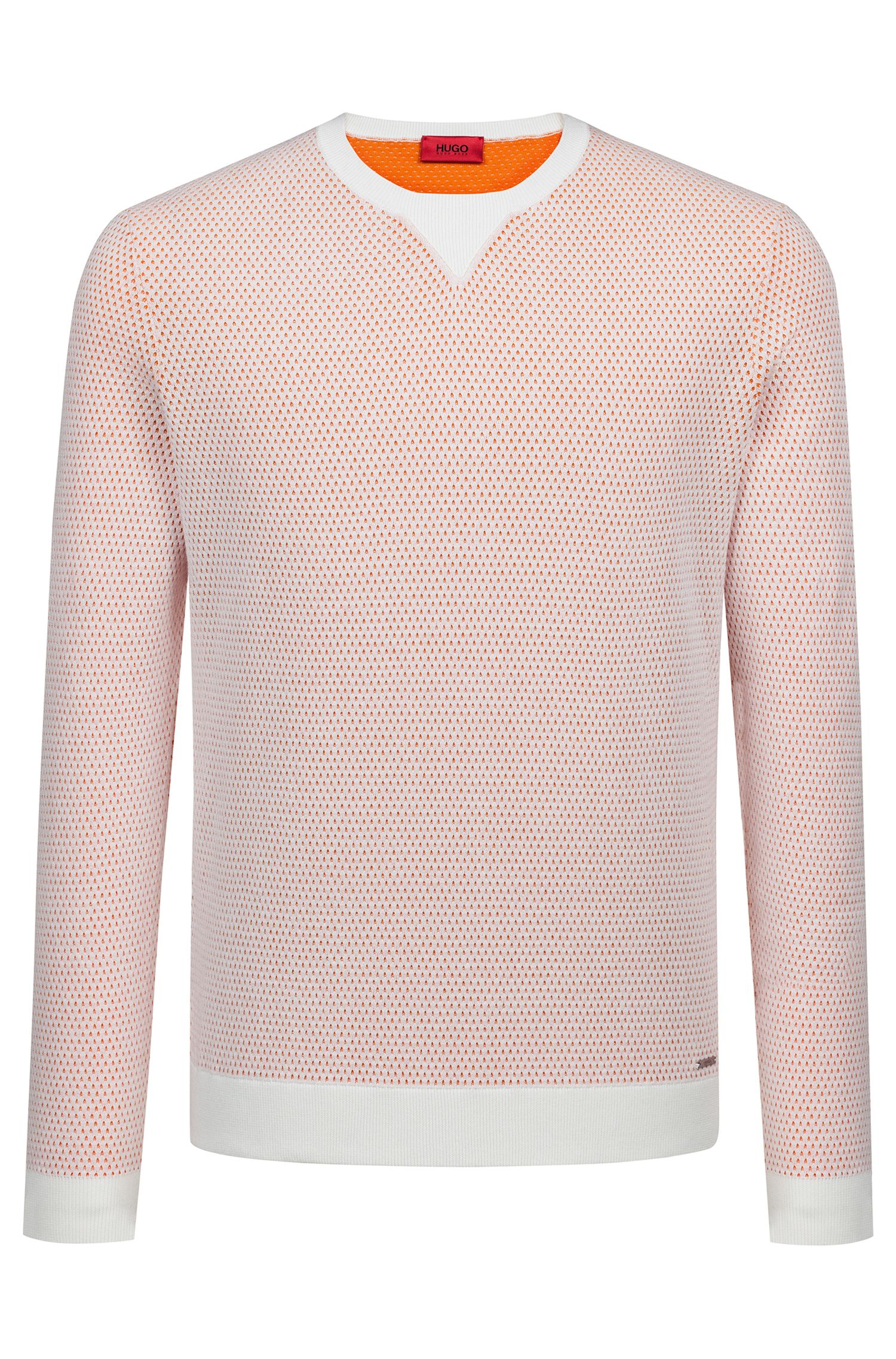Crew-neck sweater in two-colour knitted cotton piqué , Natural