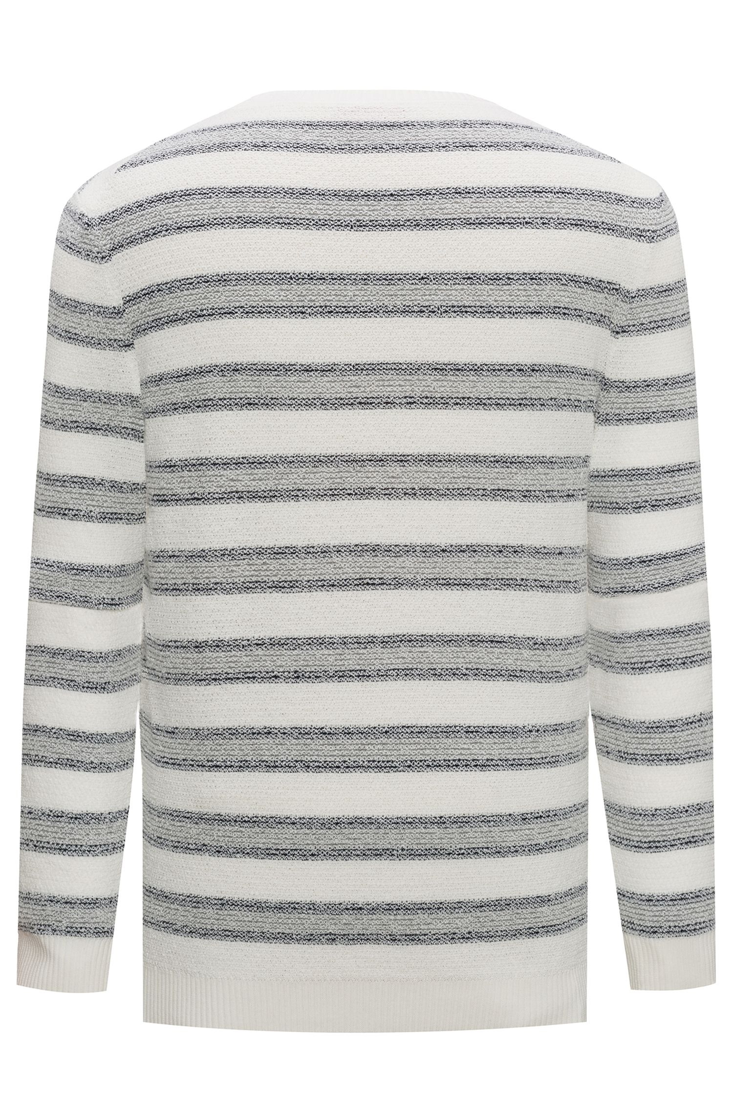 Cotton-blend sweater with jacquard stripe, Natural