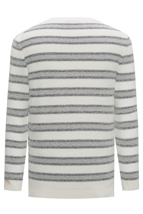 Hugo Boss - Cotton-blend sweater with jacquard stripe - 4